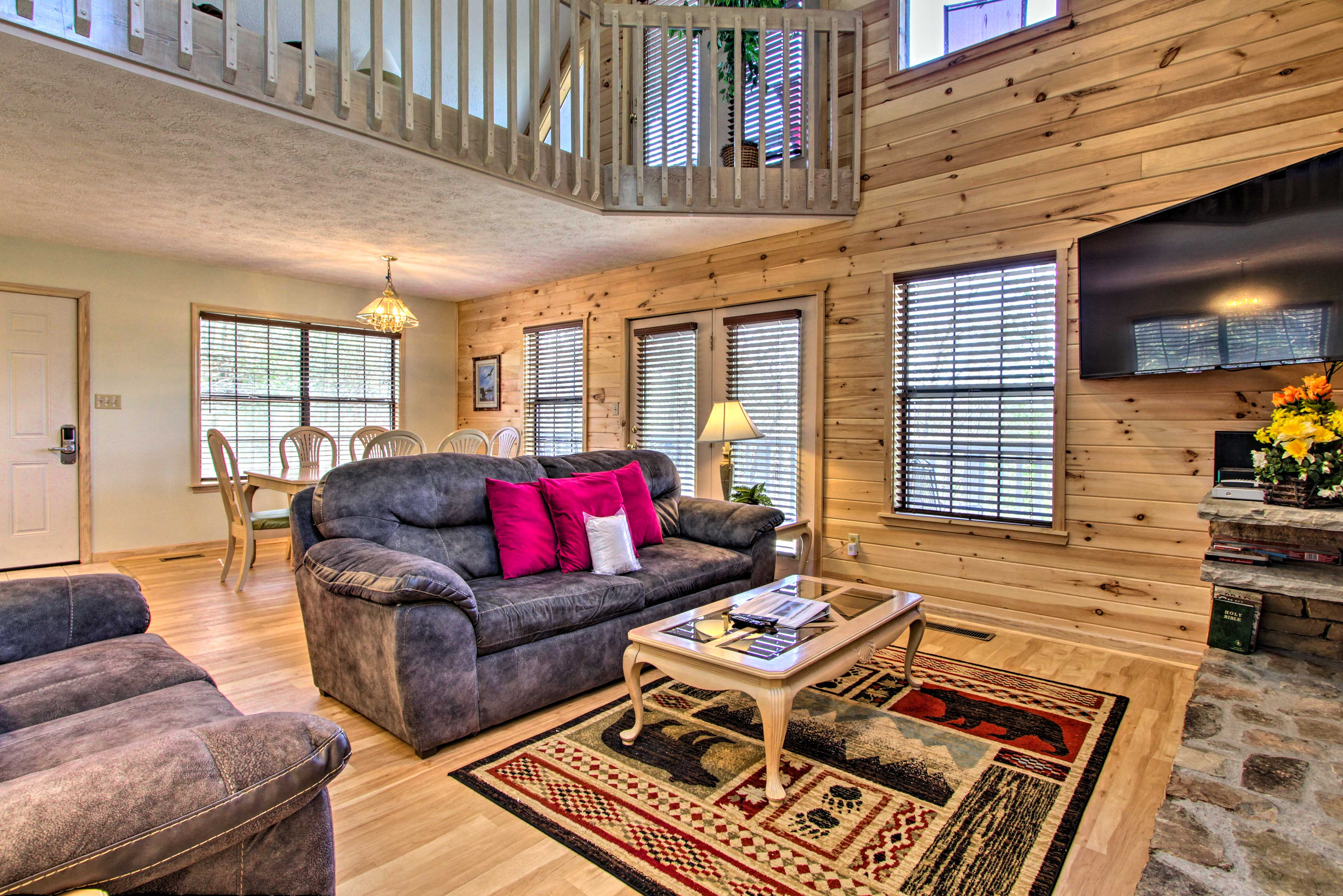 The interior boasts a long-cabin feel with all the comforts of home.