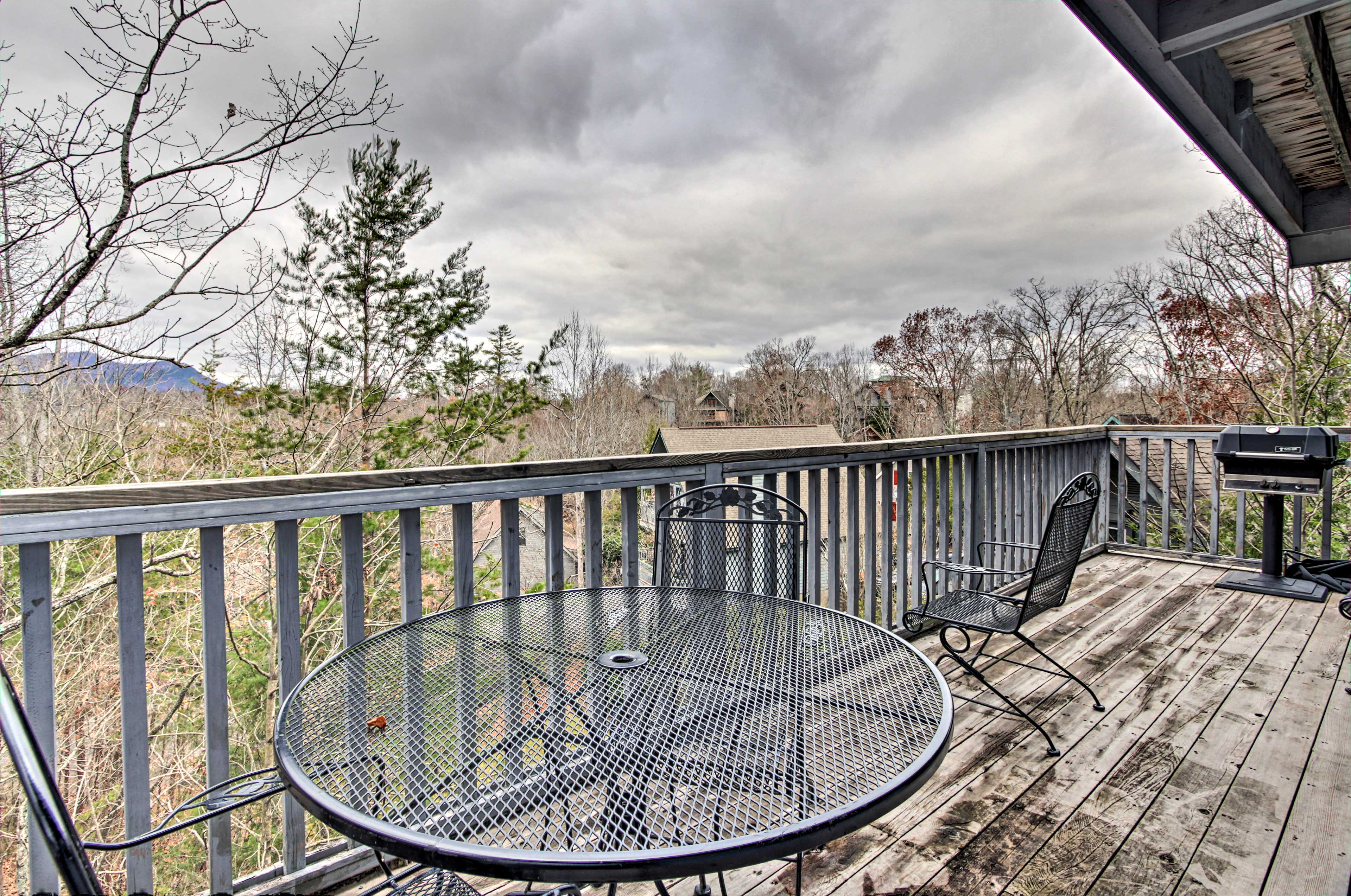 Spend afternoons grilling & chilling on your mountain-view deck.