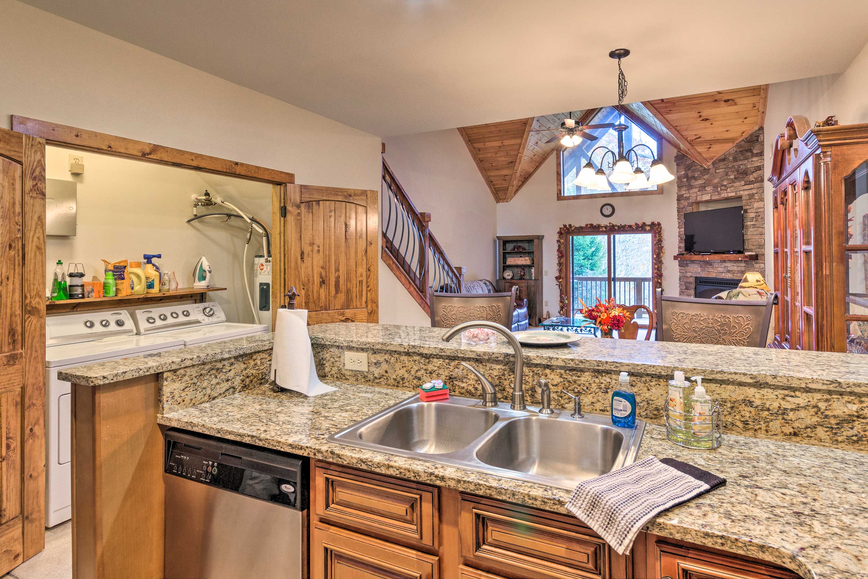 Clean up is effortless with double sinks and a dishwasher.