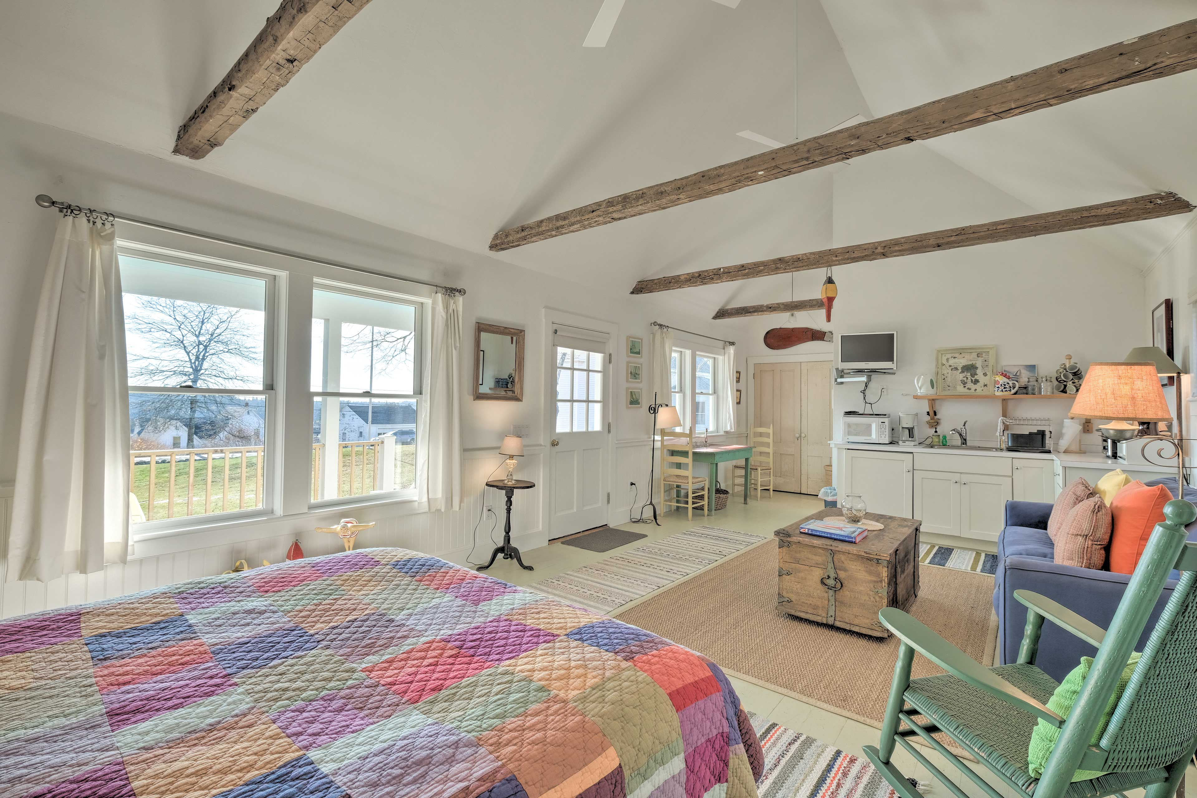 Natural light floods into the cottage.