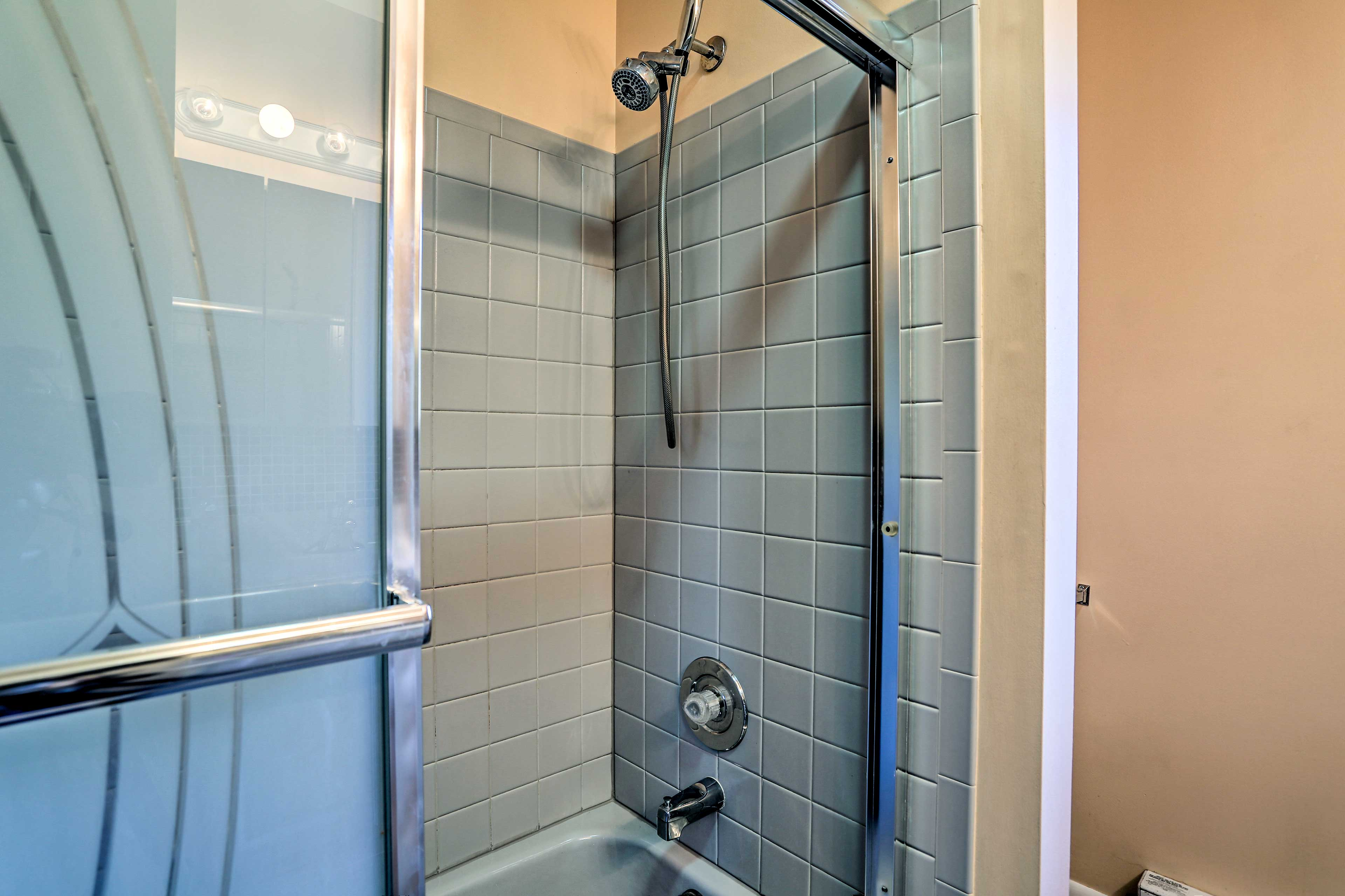 It's complete with a shower/tub combo.