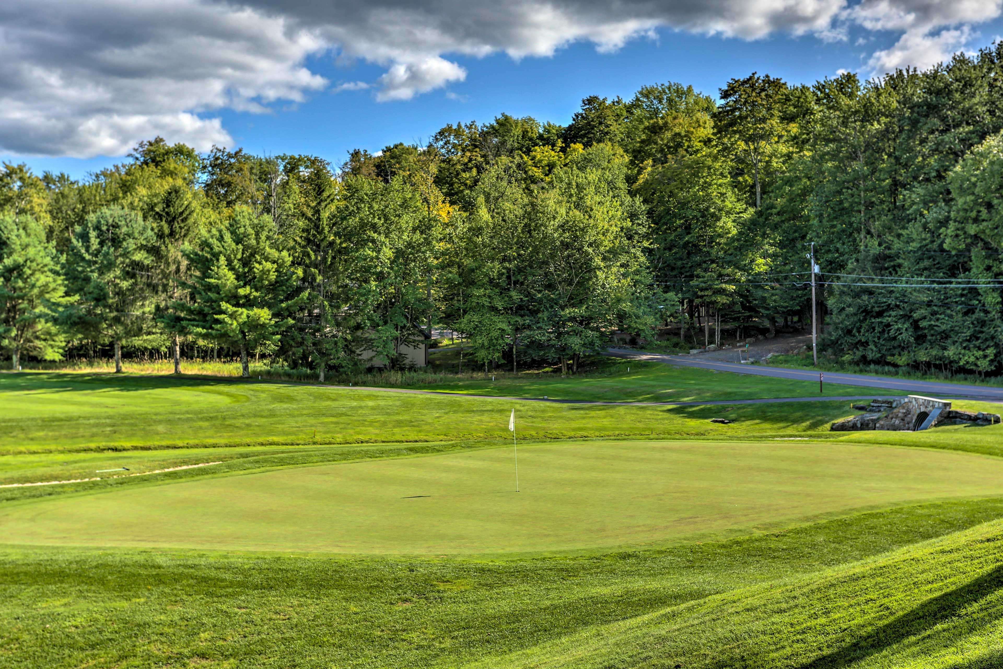 Play a round of golf on The Hideout course located within walking distance.