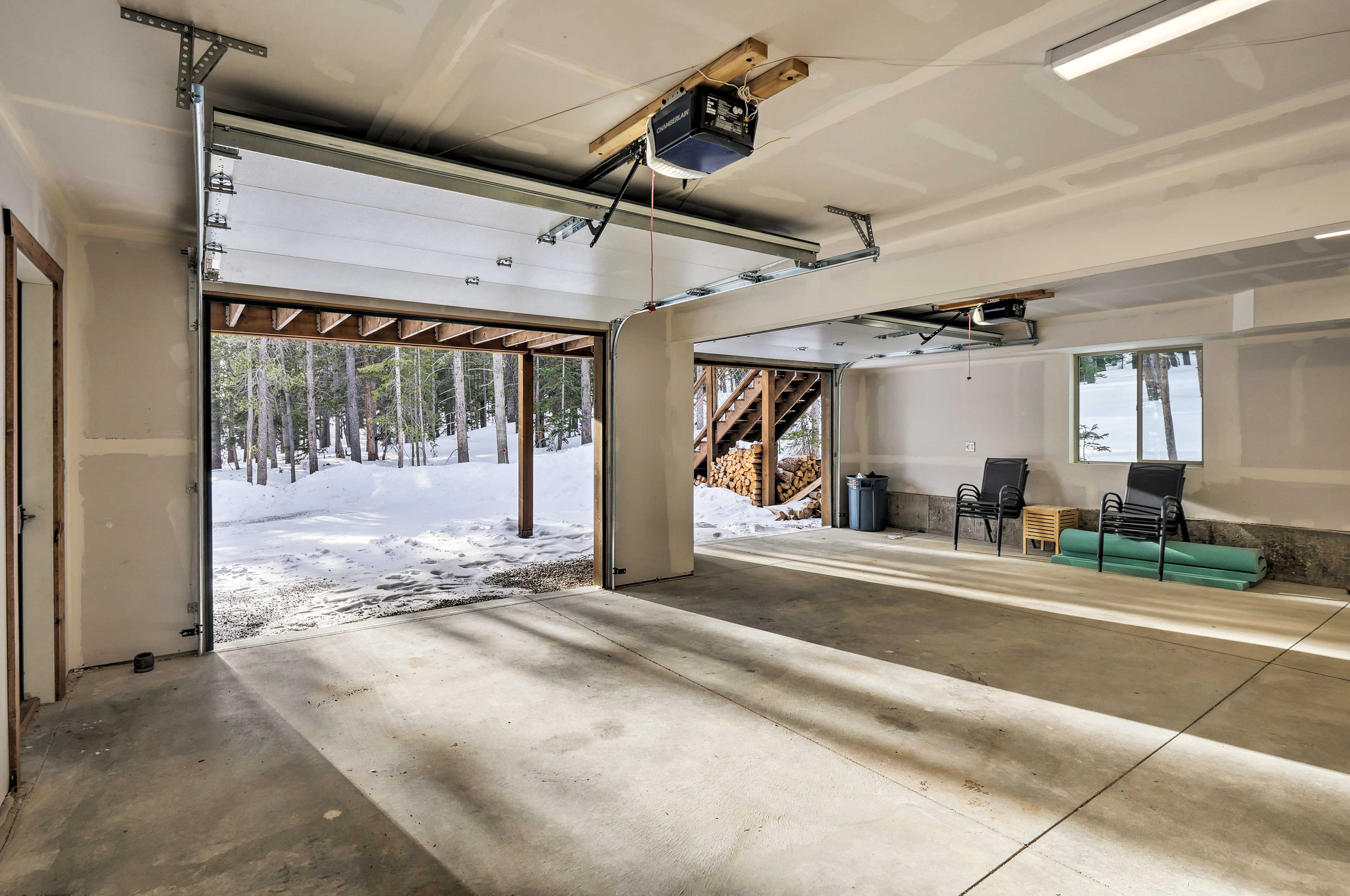 The heated garage has room for 2 vehicles.