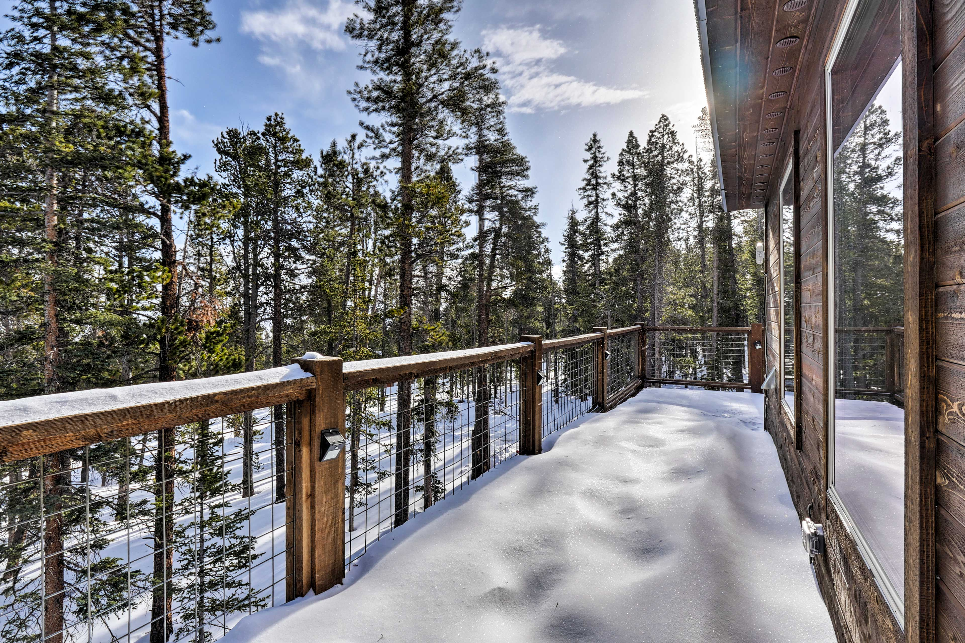 The deck offers great view of the surrounding mountains.