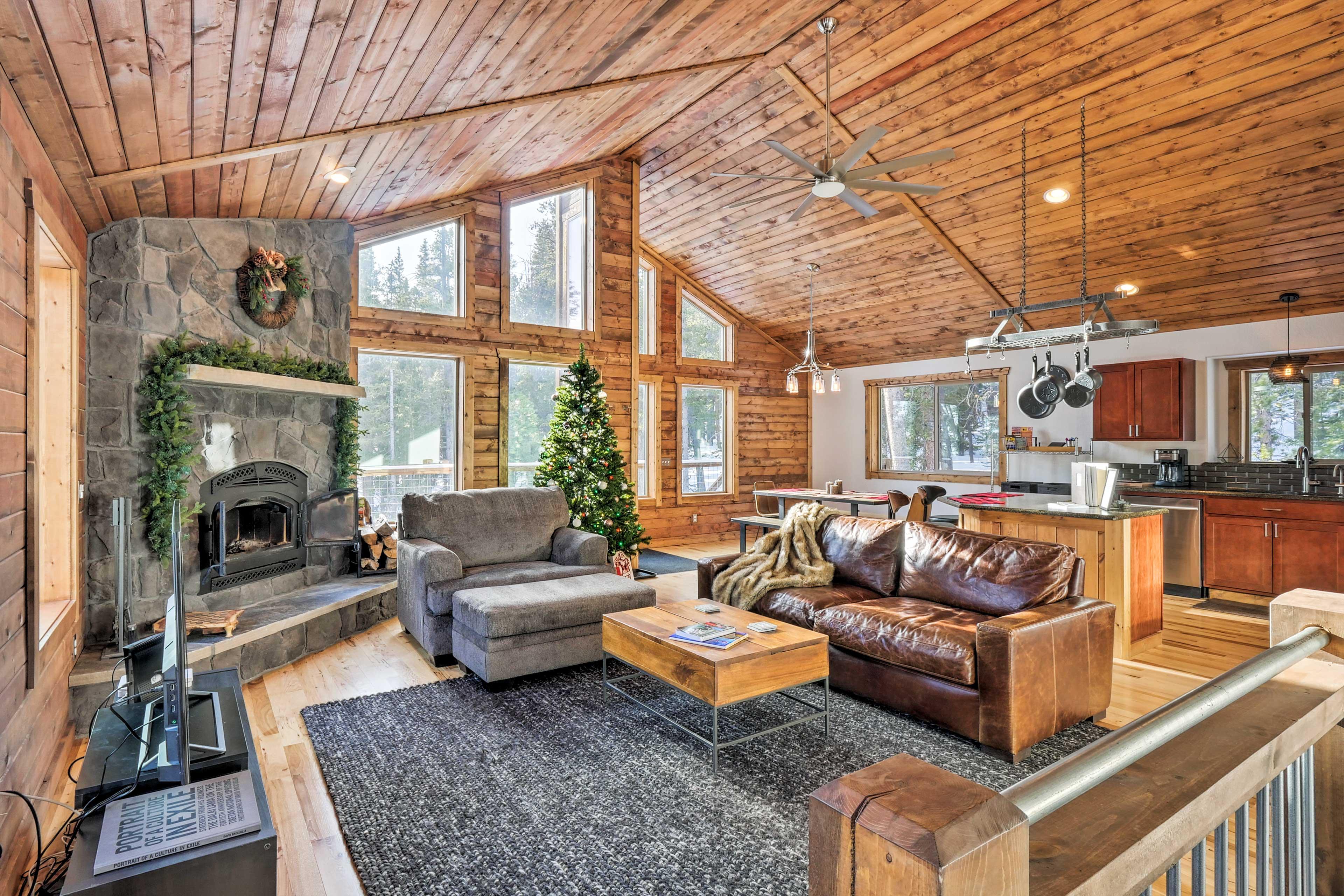 Head upstairs to the beautiful living room.