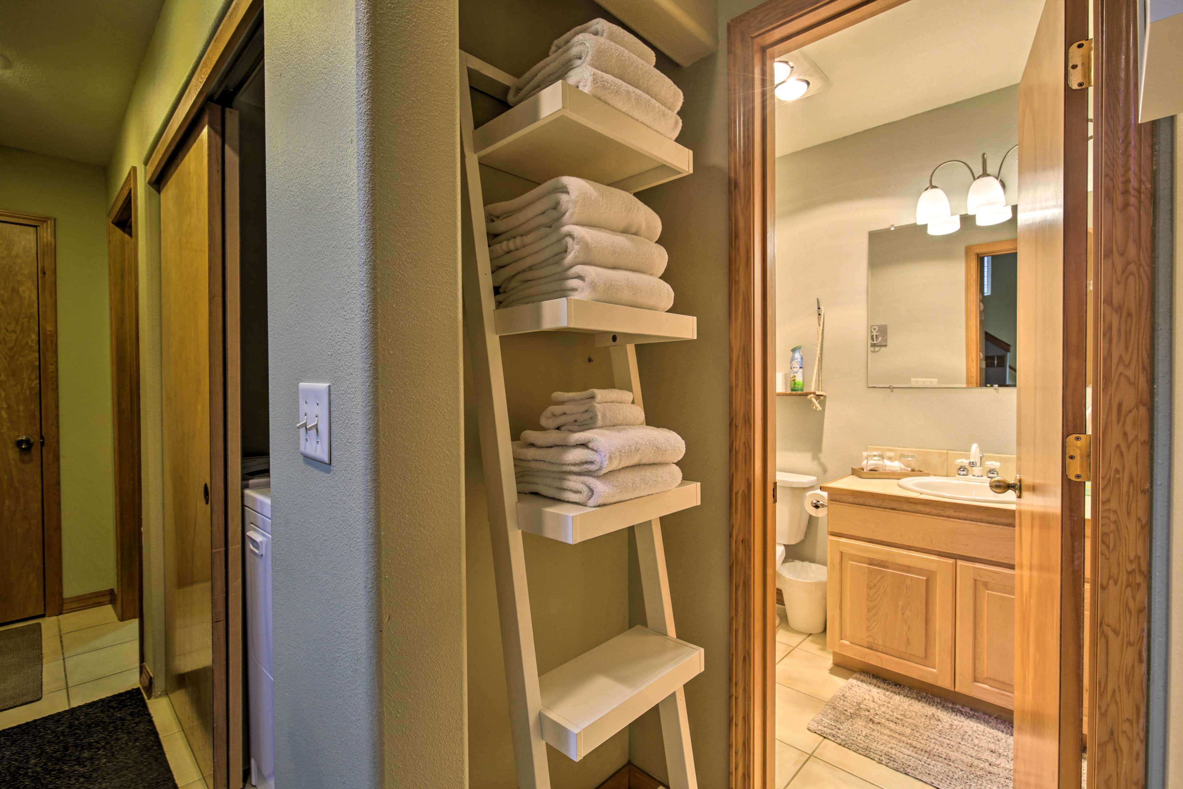 Make the most out of the complimentary towels and toiletries.