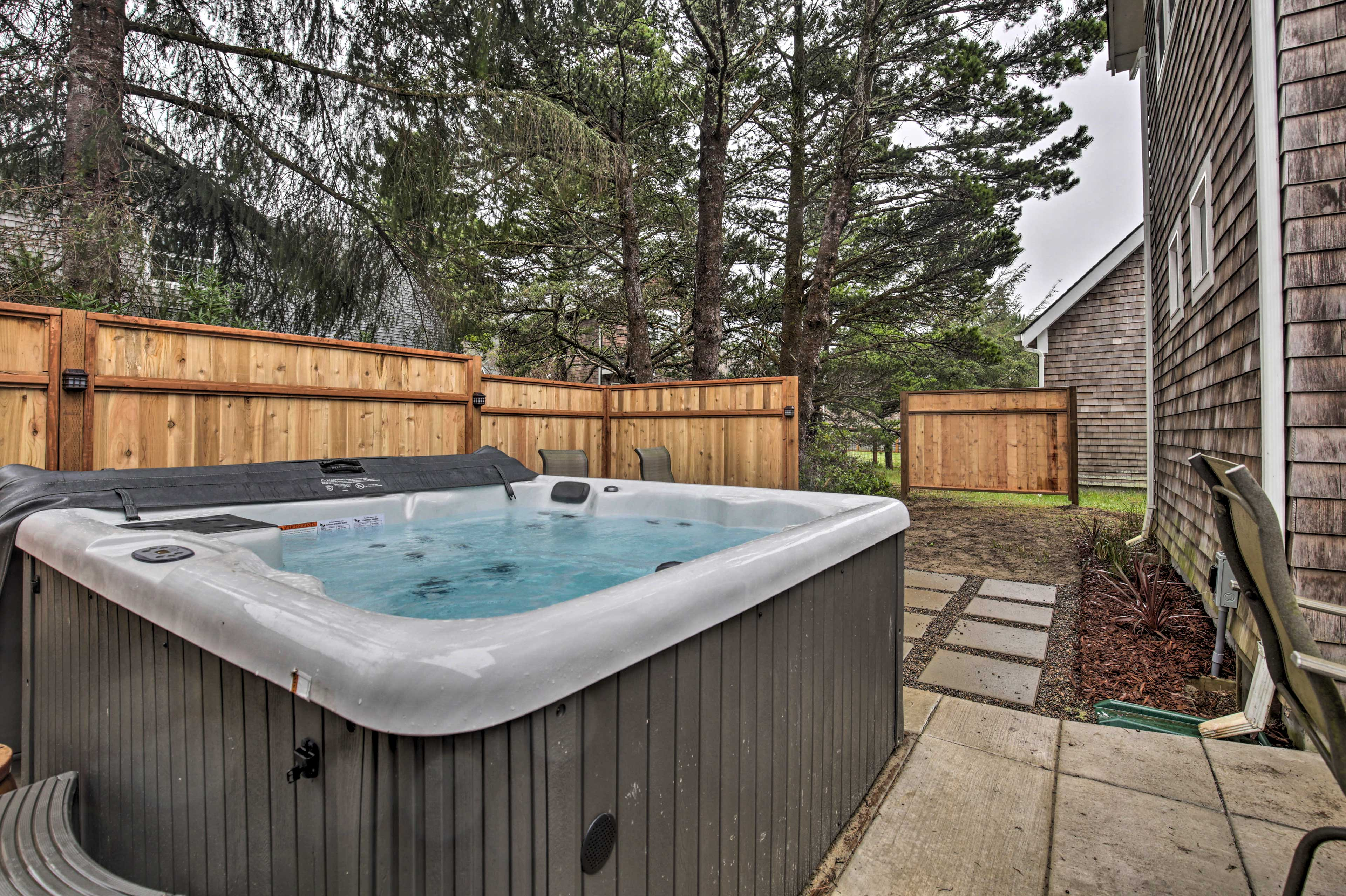 Soak those sore muscles in the hot tub.