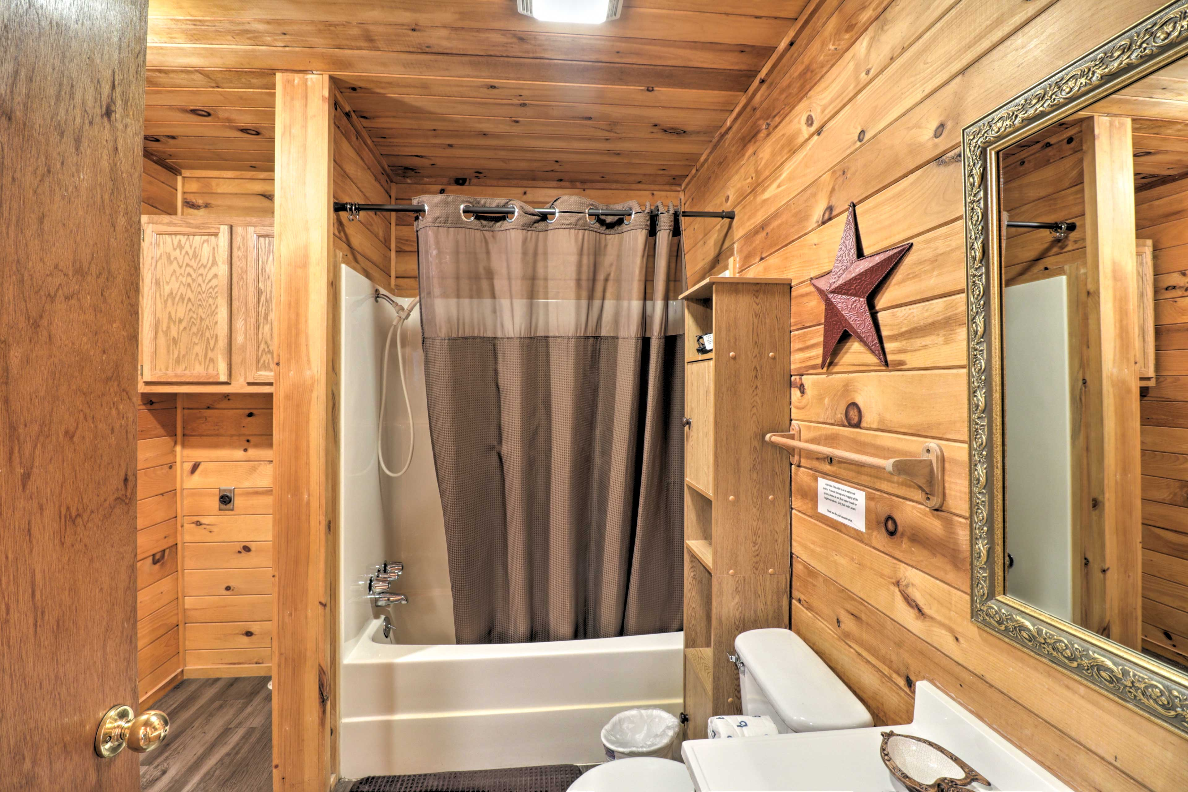 Rinse the lake water off in the shower/tub combo.