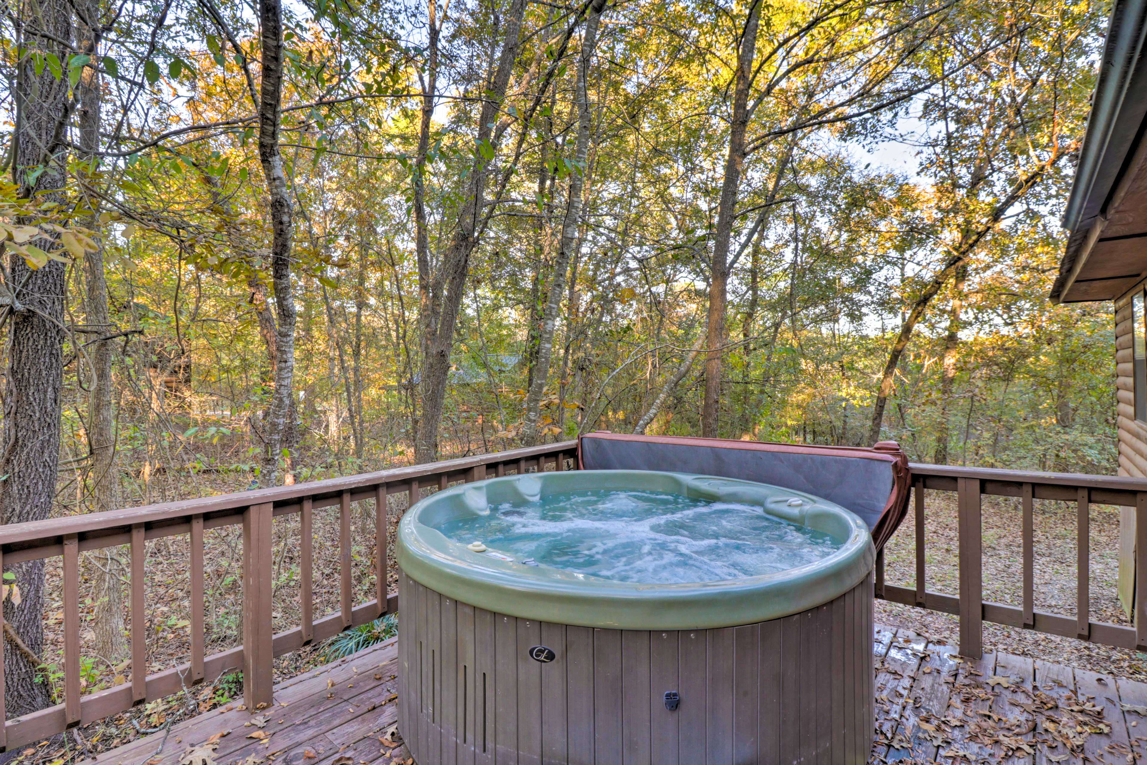 Throw on your swimsuits and soak in the hot tub.