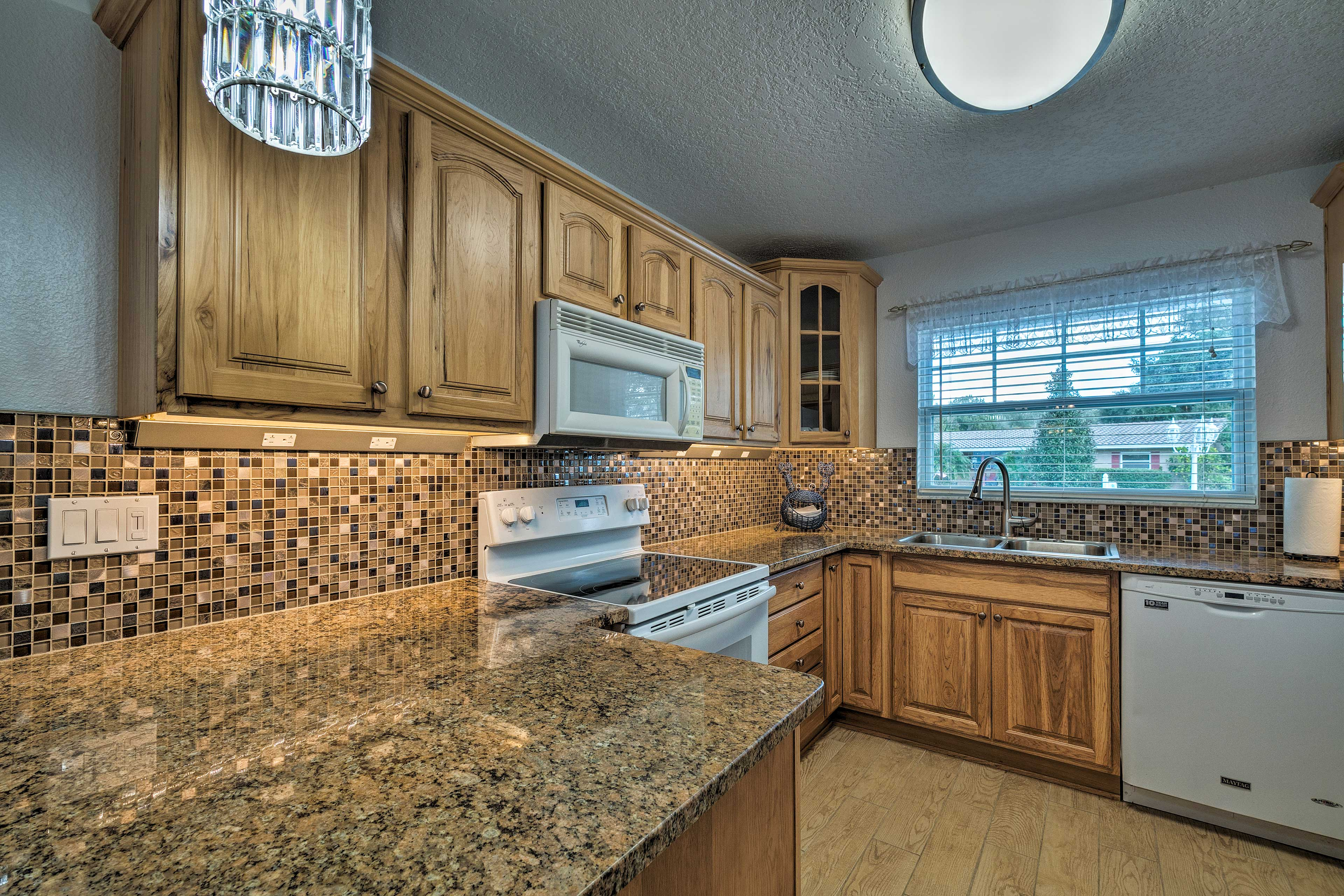 Whip up a tasty home-cooked dish in the fully equipped kitchen.