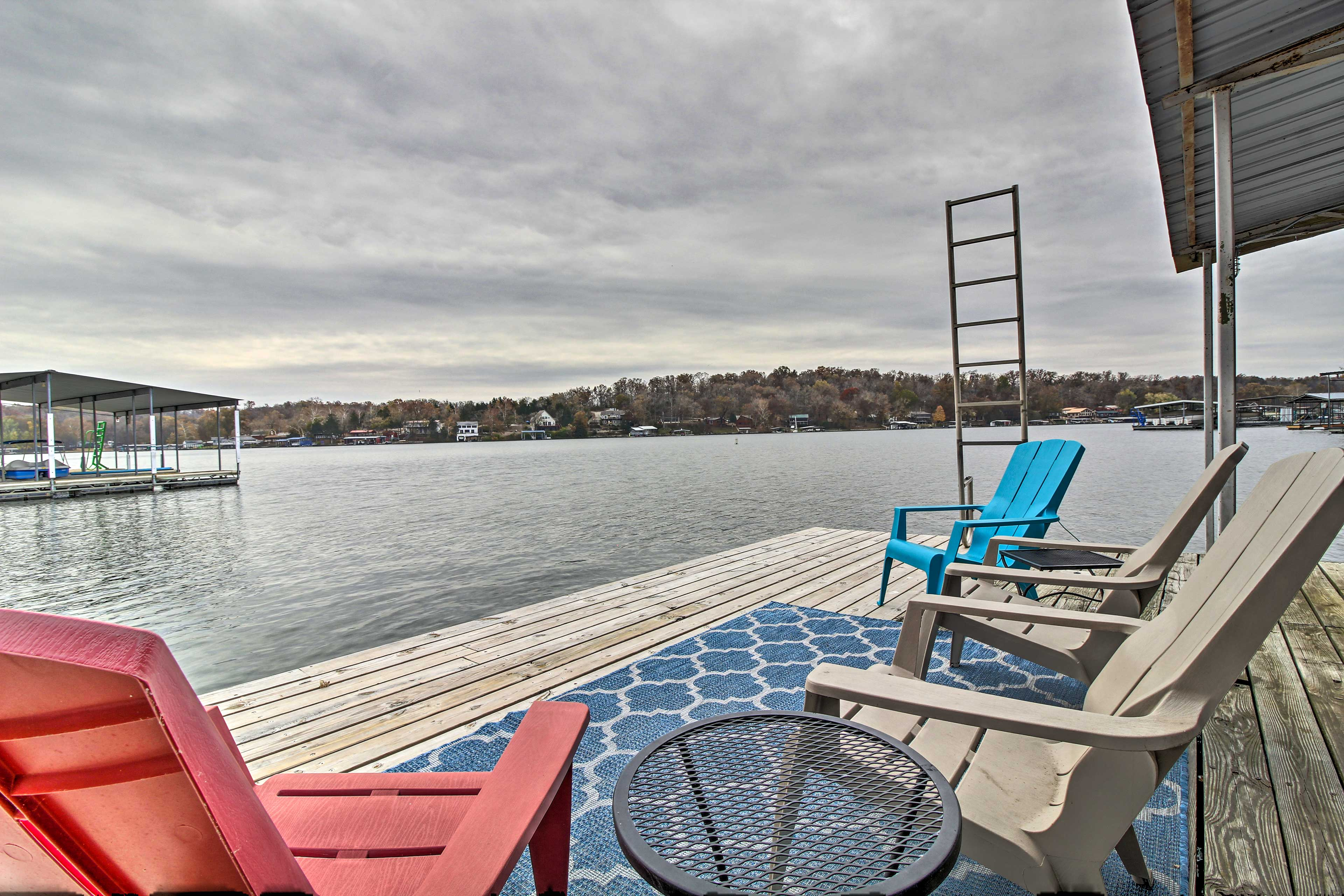 Sit on the deck and watch boats cruise by.