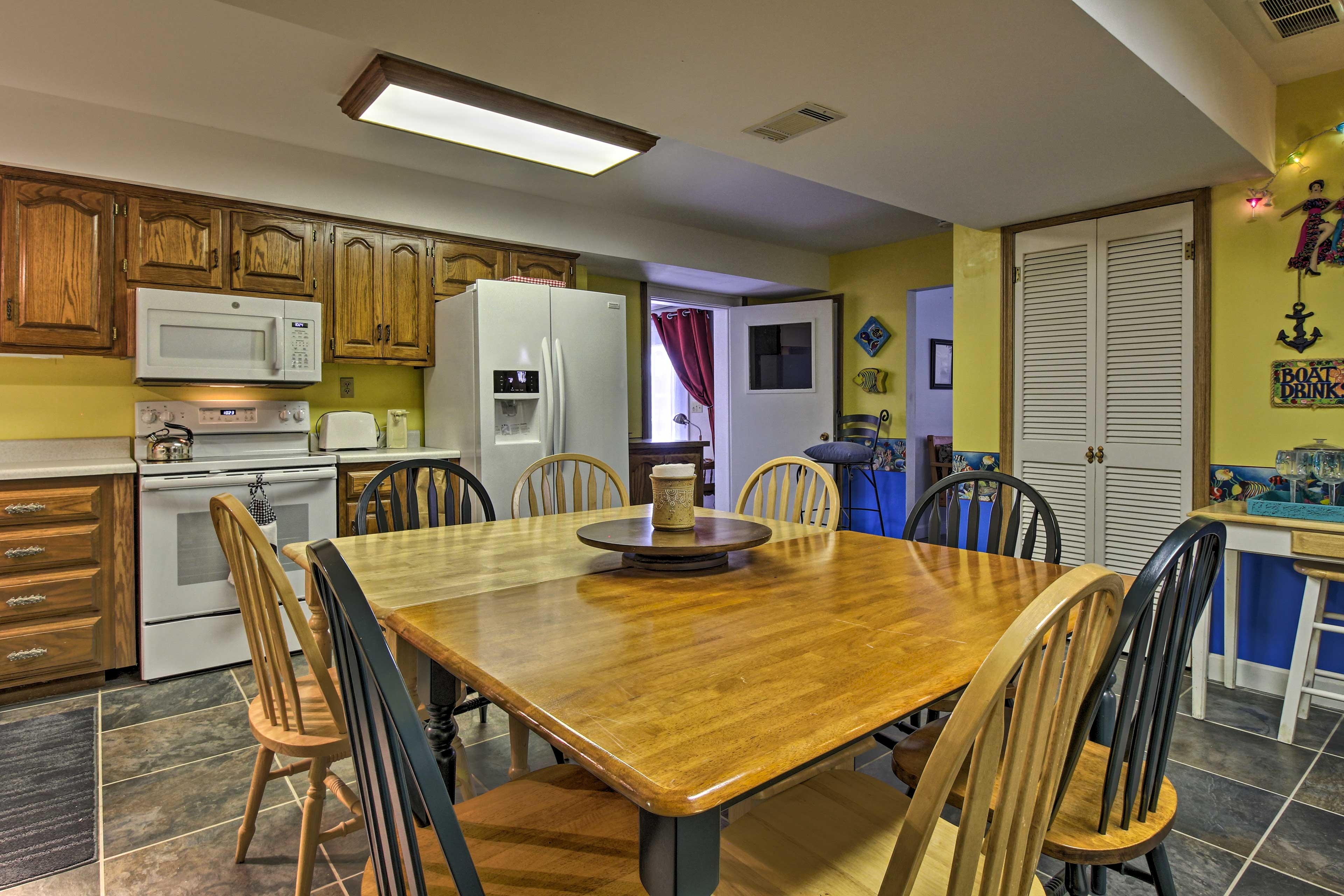 The kitchen is fully equipped for your convenience.