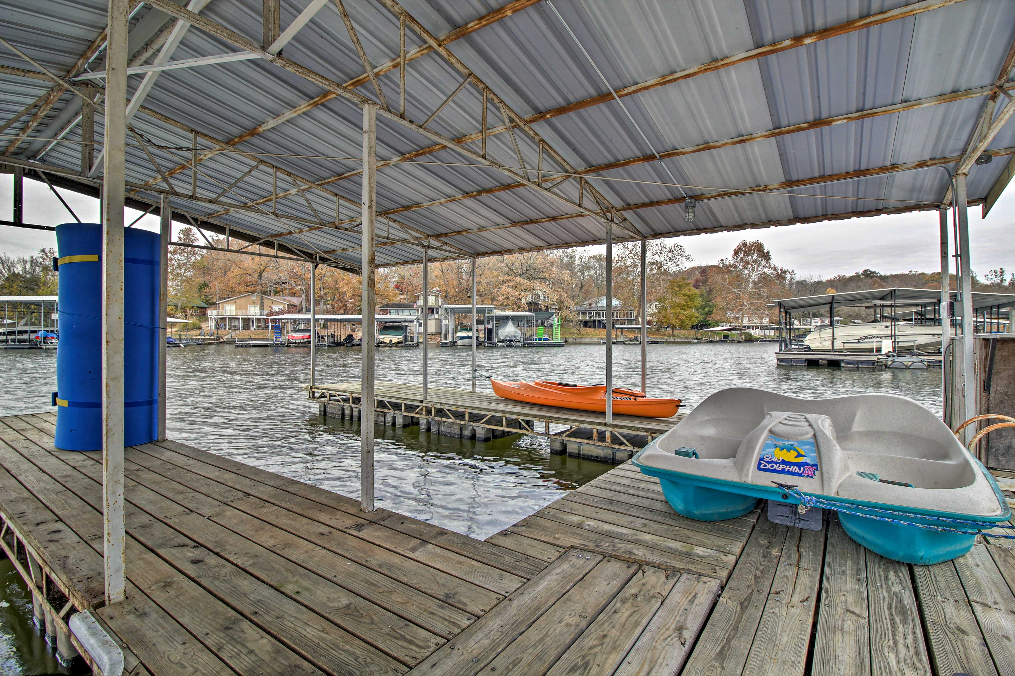 Take the paddle boat out on the water or dock your boat here.