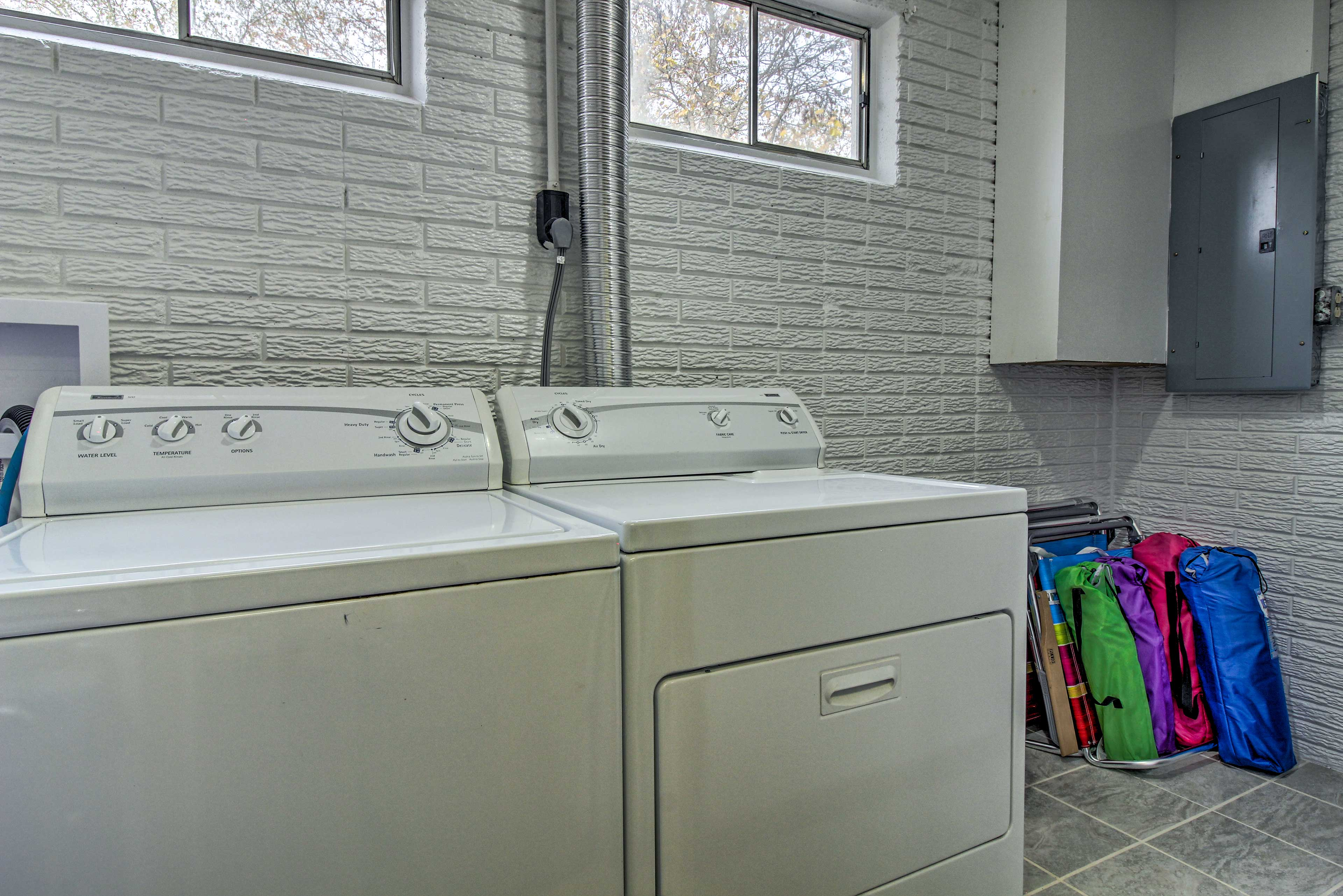Keep your clothes fresh and dry with the laundry machines.