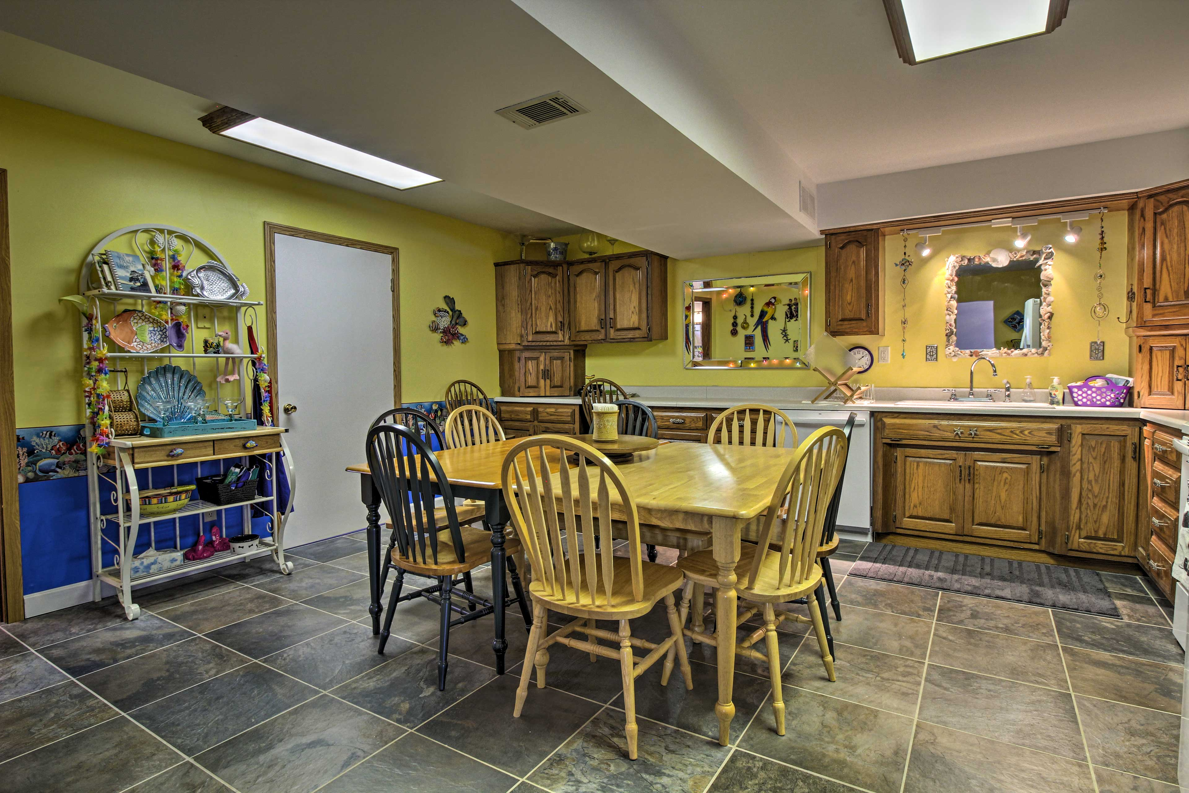 Gather around the spacious kitchen table to share meals.