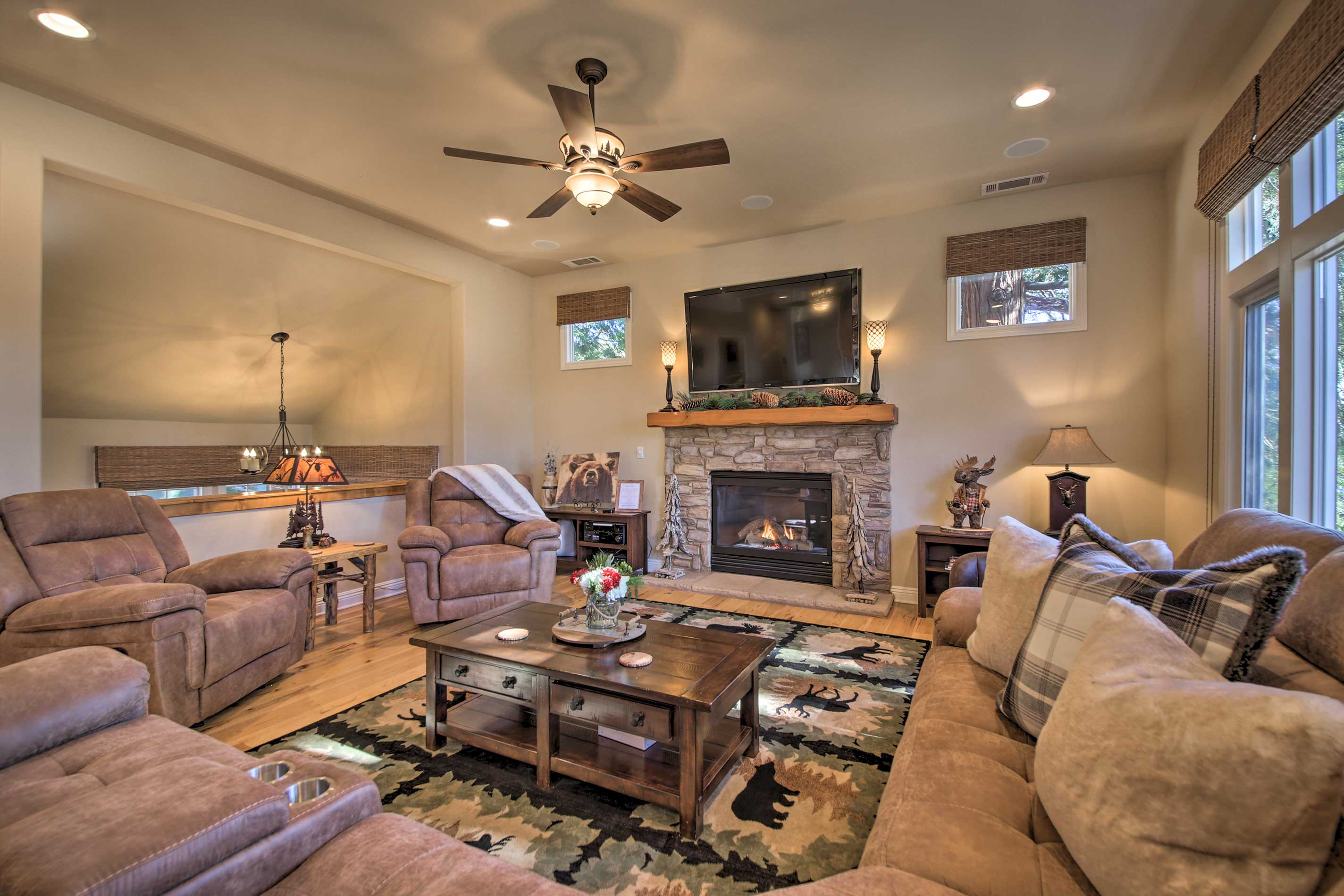 Warm up in front of the gas fireplace during a movie night in.