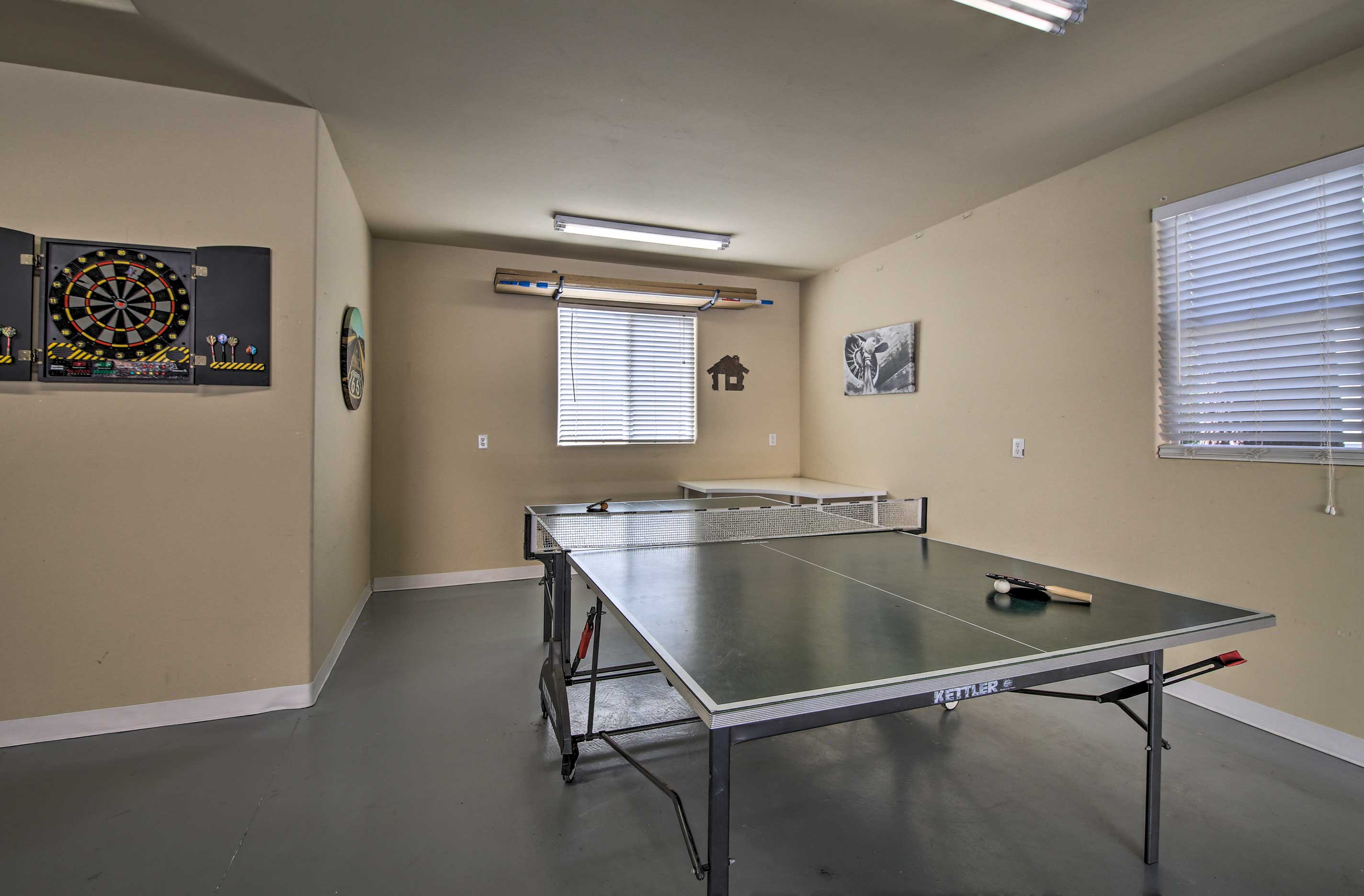 Challenge a friend to a competitive game of ping pong or darts!