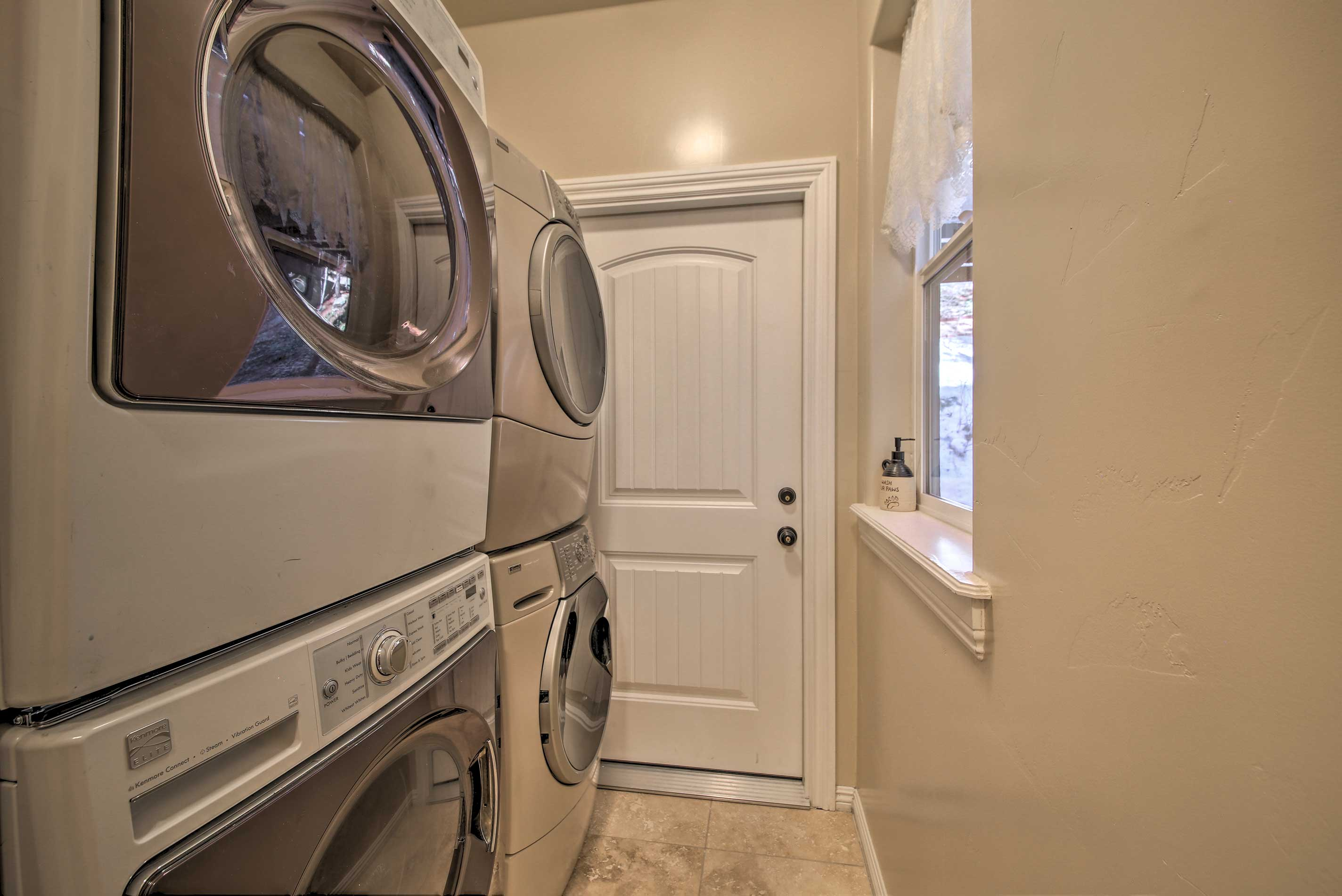 The whole family can keep their wardrobe clean with multiple laundry machines!