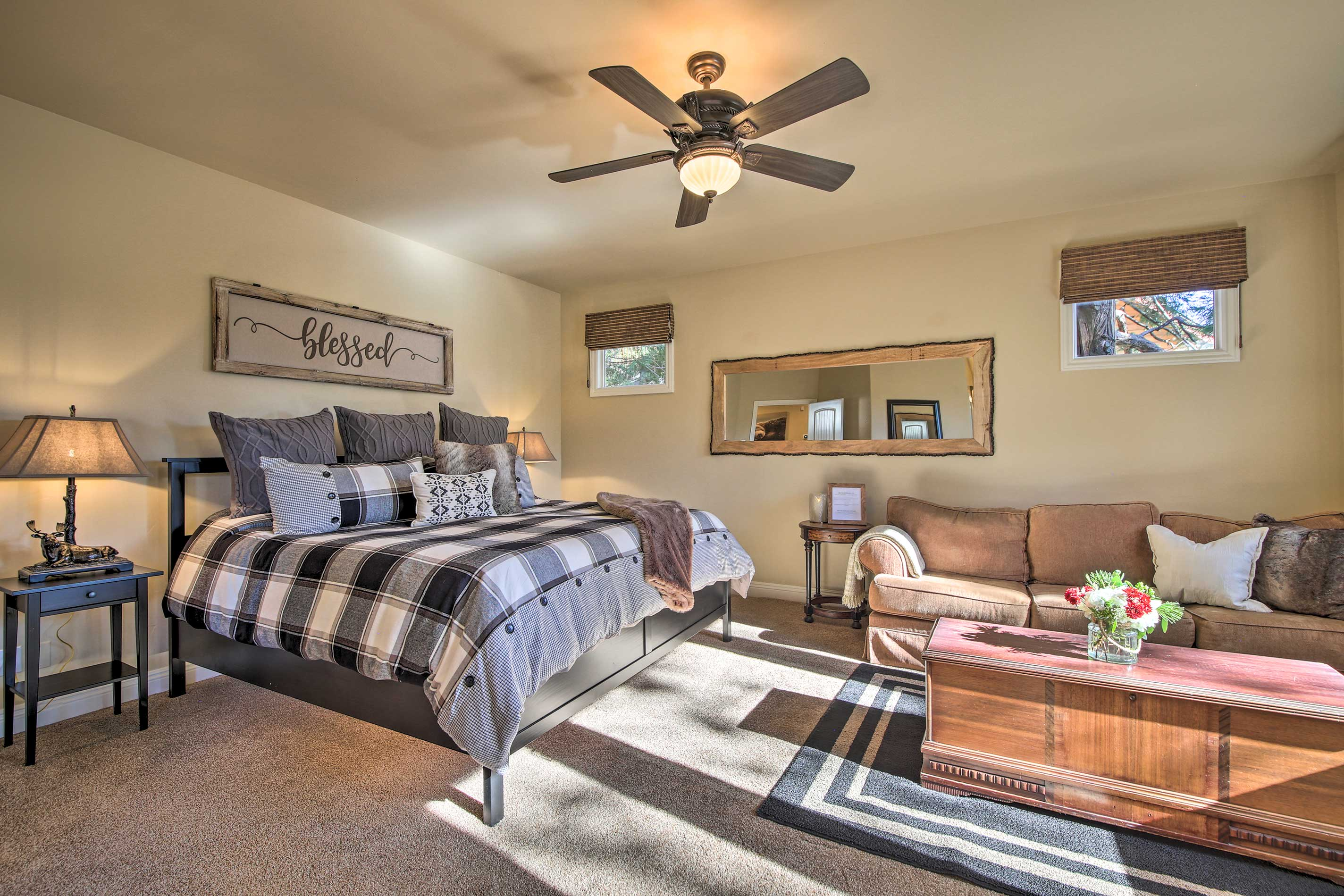 Claim the fully-furnished master bedroom as your own.