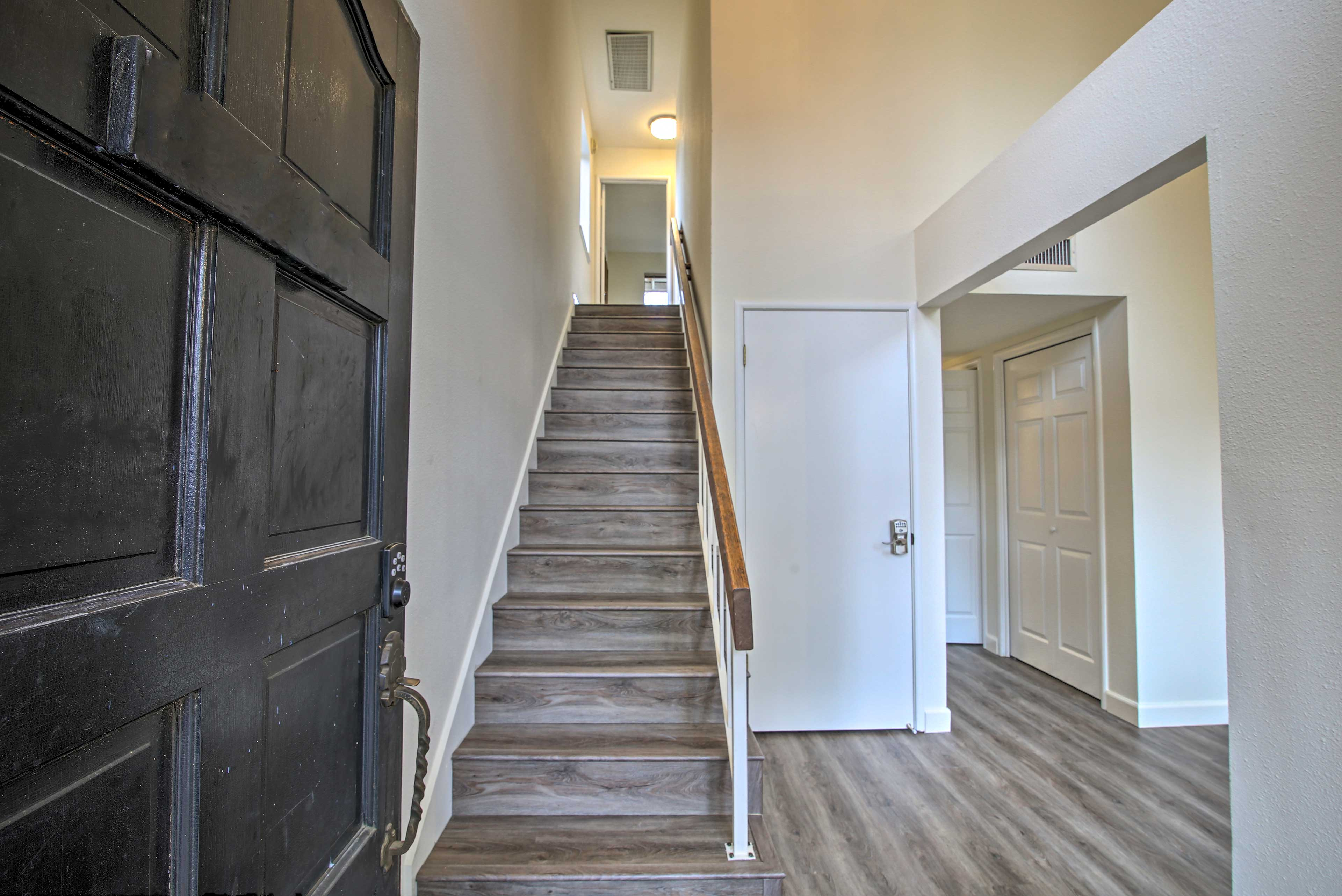 All bedrooms are located upstairs.