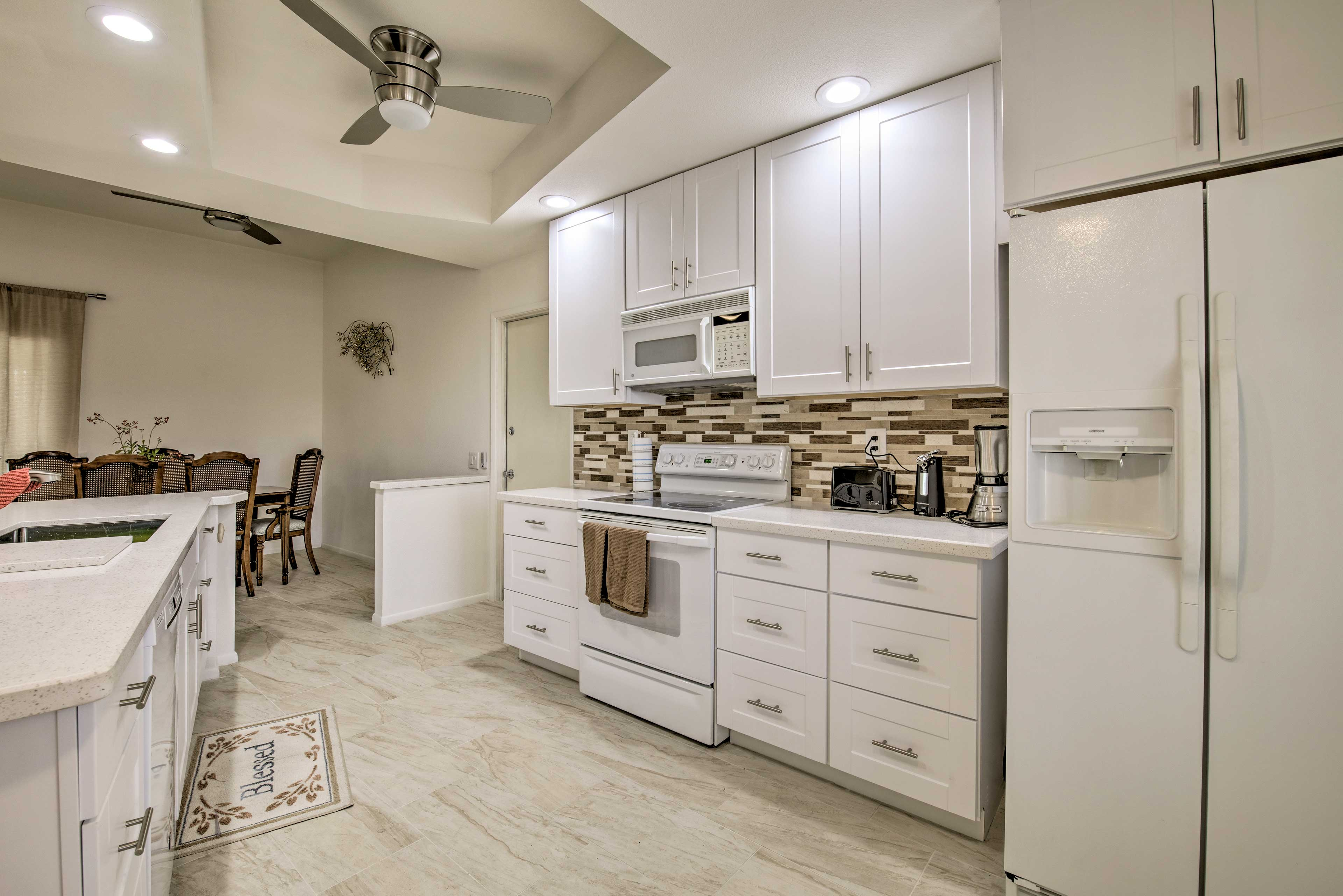 Head to the fully equipped kitchen for a home-cooked meal.