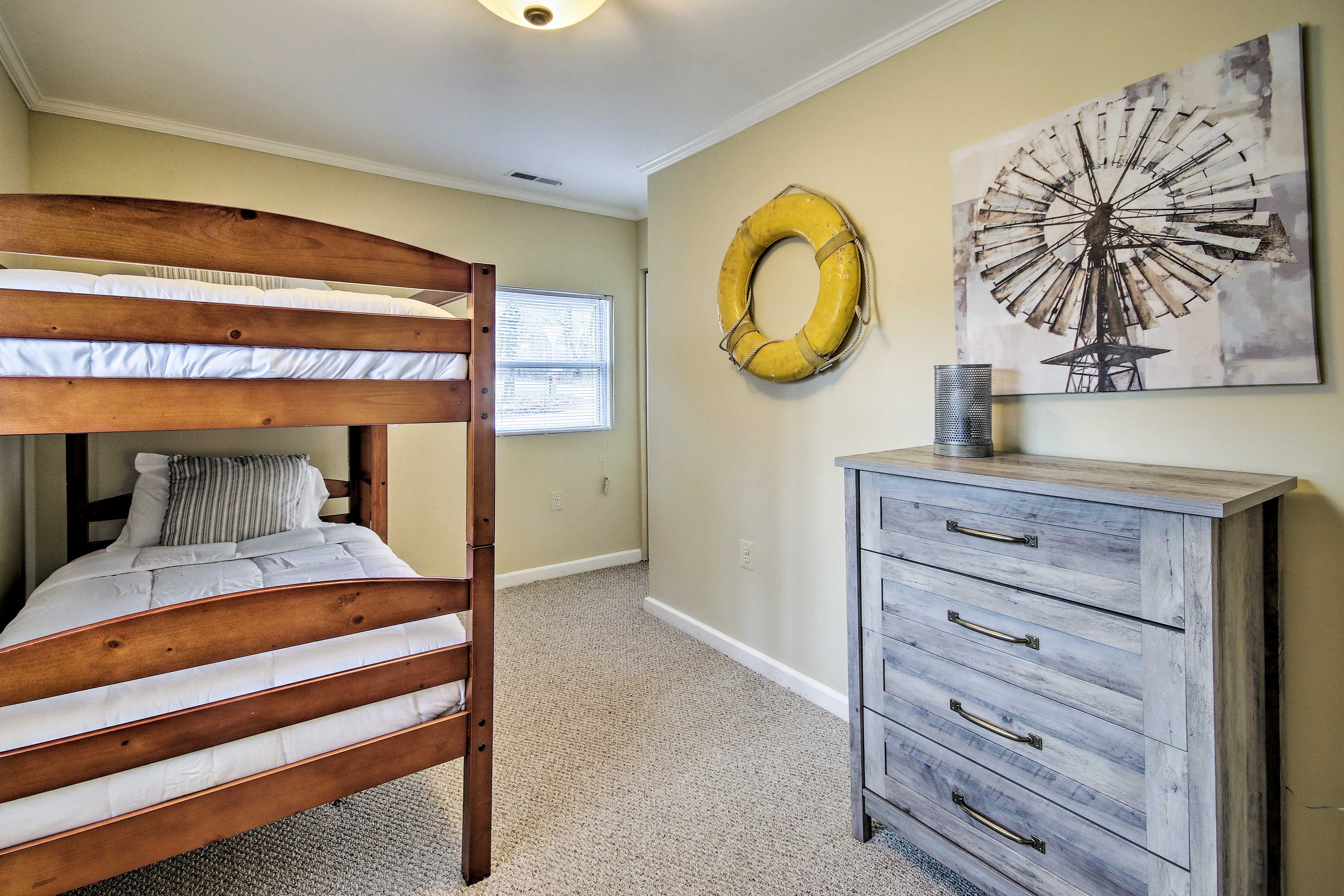 The kids will feel right at home in this bedroom.