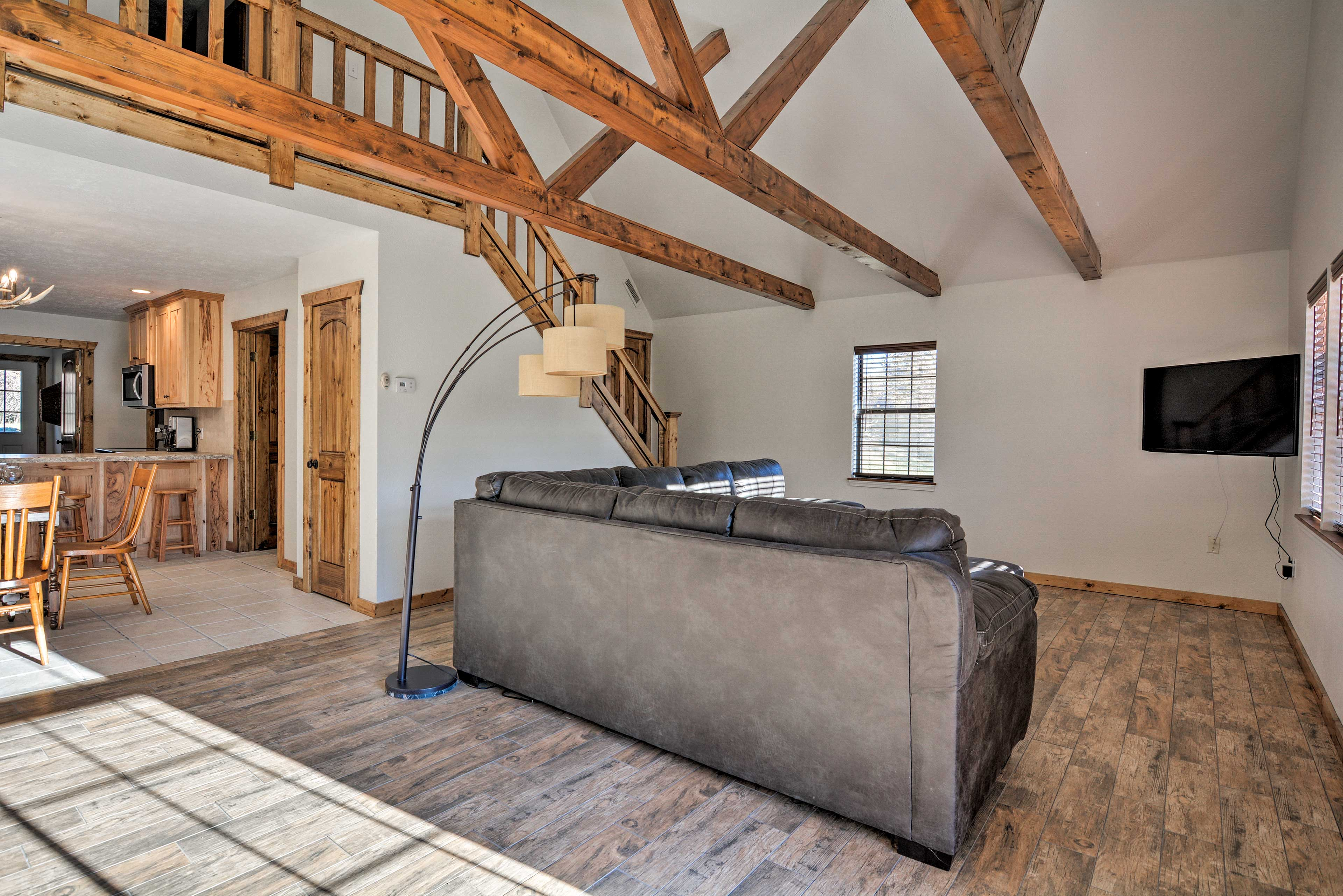 Cathedral ceilings make the home feel incredibly spacious.