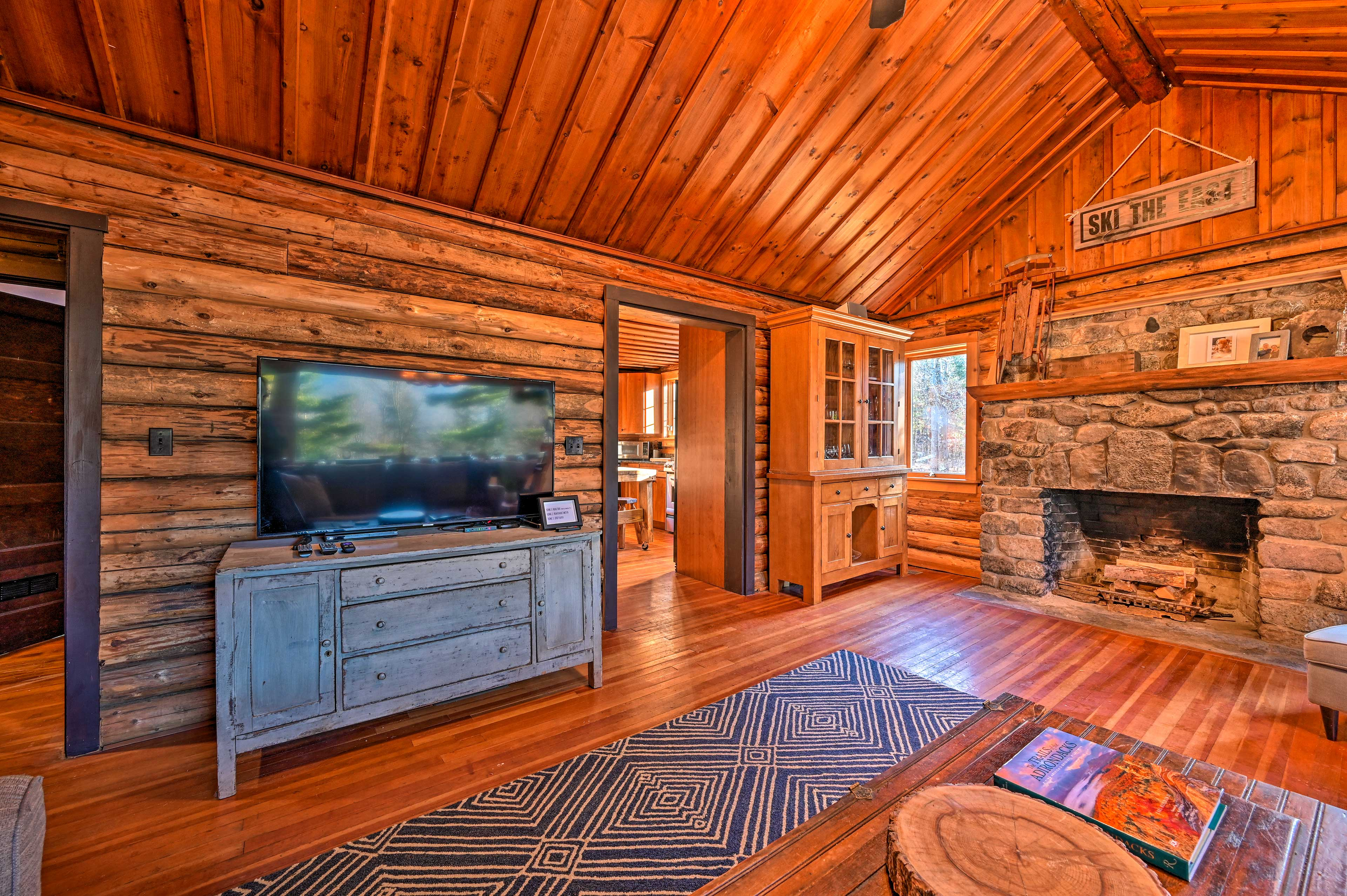 Watch movies by the gas-fueled fireplace.