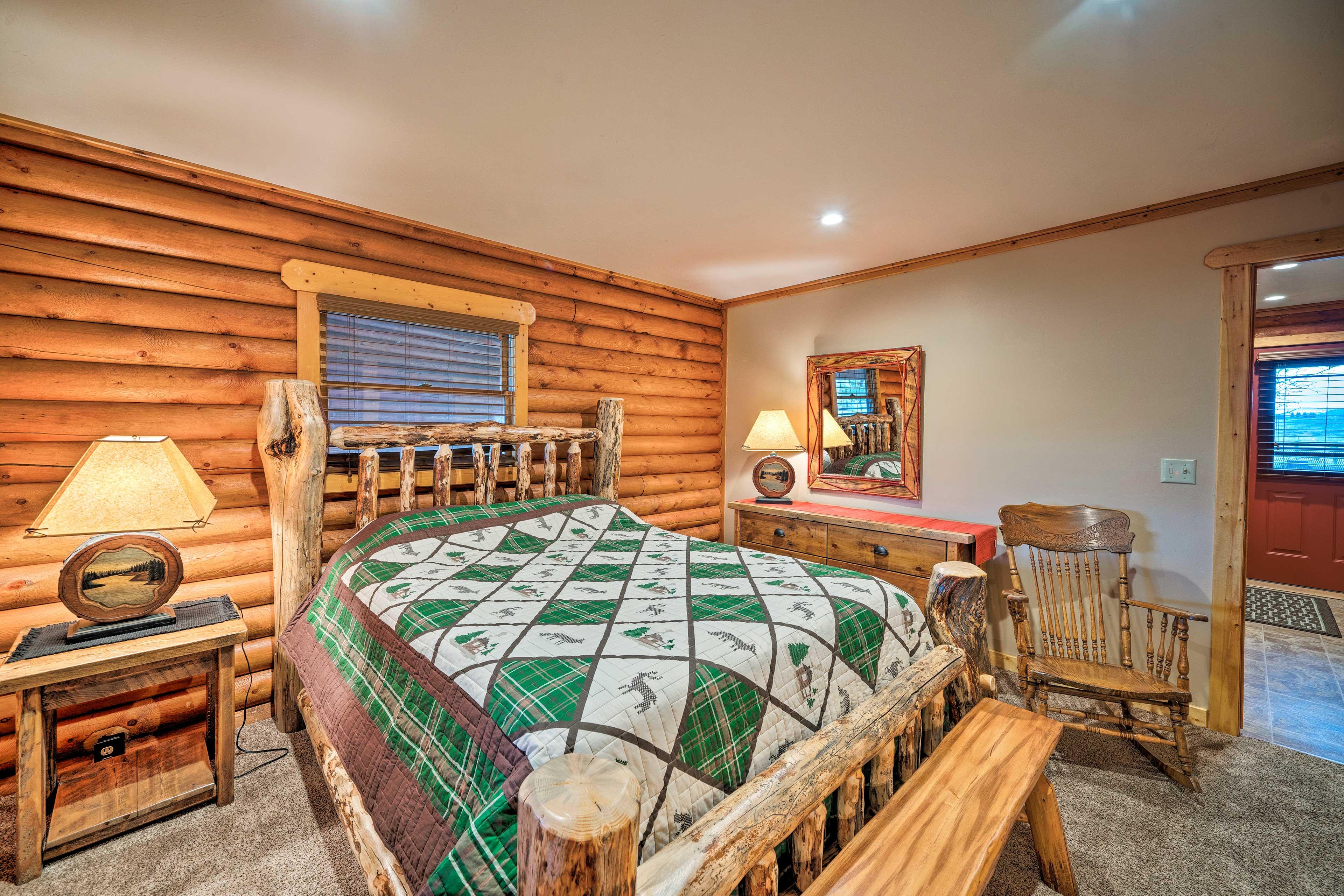 Sleep soundly in the log-framed bed.