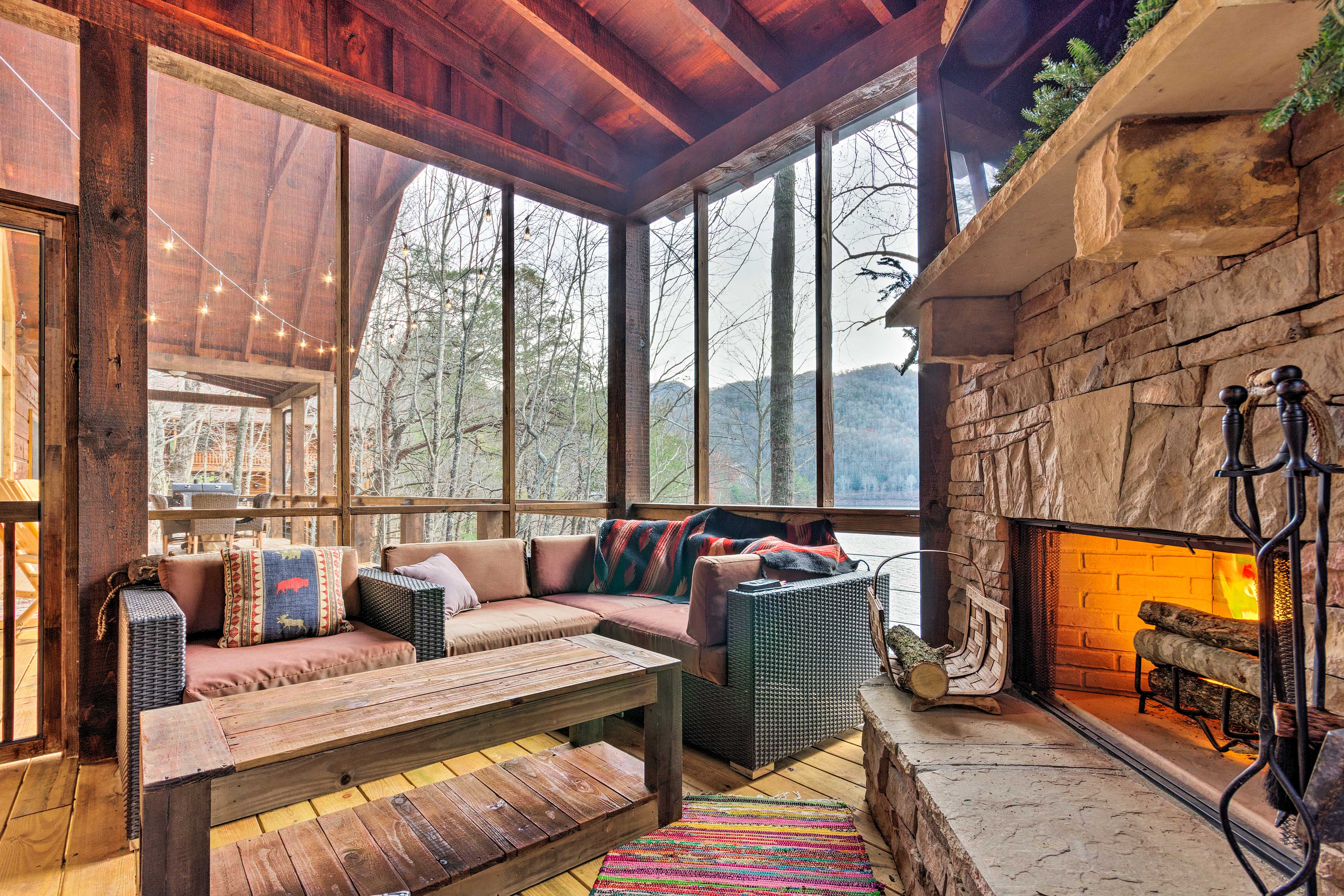 Enjoy the views from this porch sitting area.