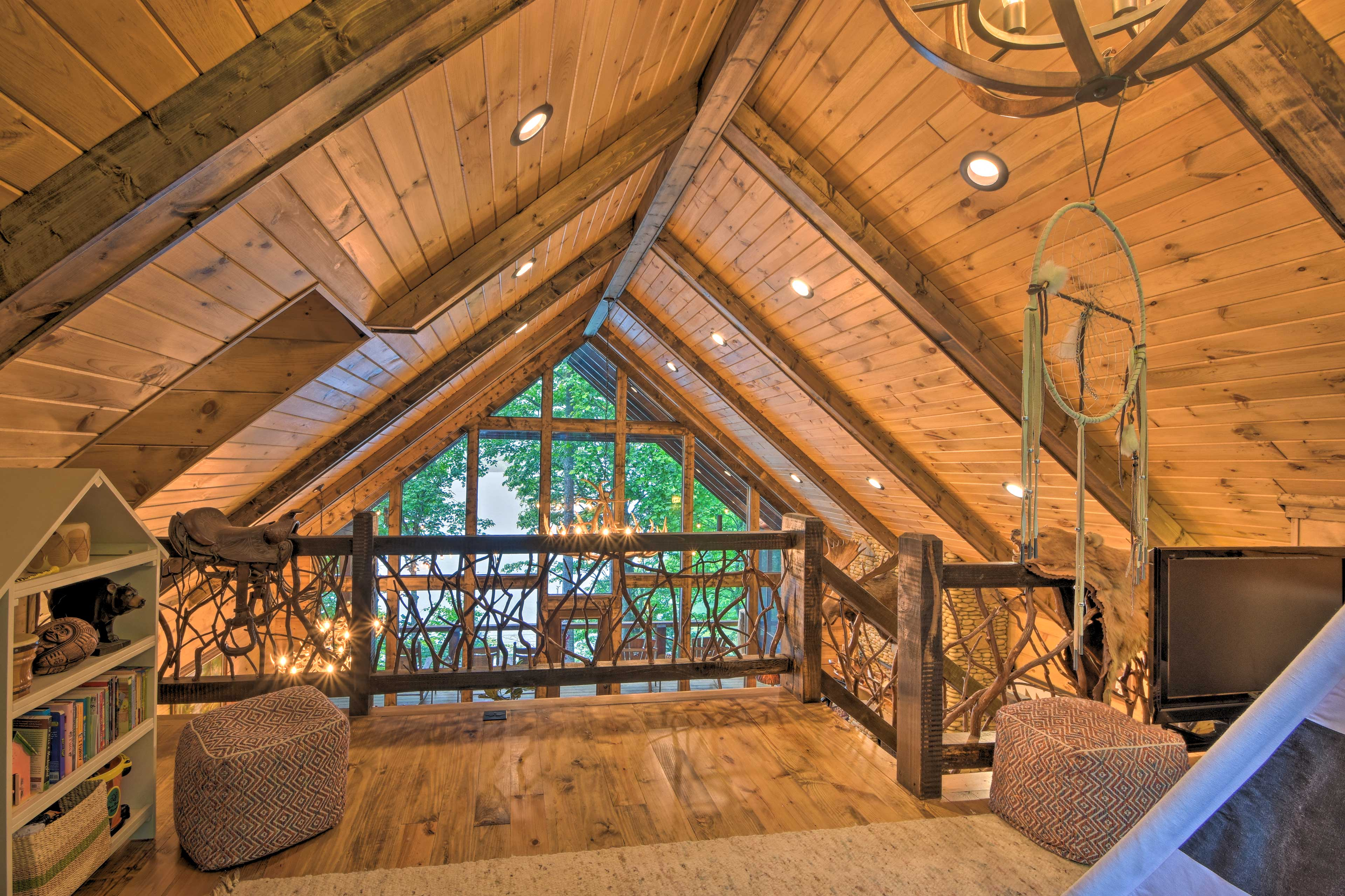 Head upstairs to relax in the loft.