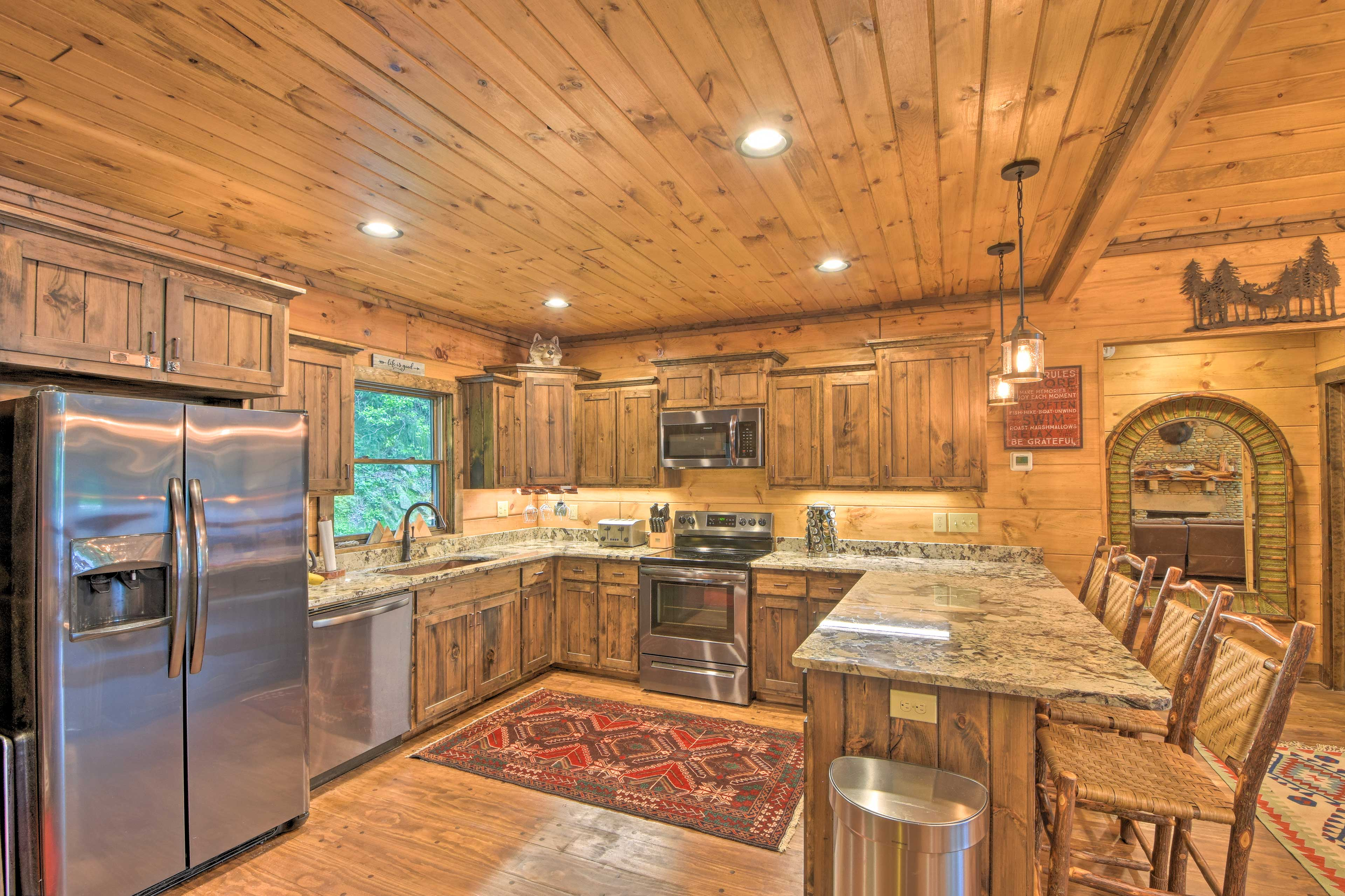 The cabin features a fully equipped kitchen complete with a dishwasher.
