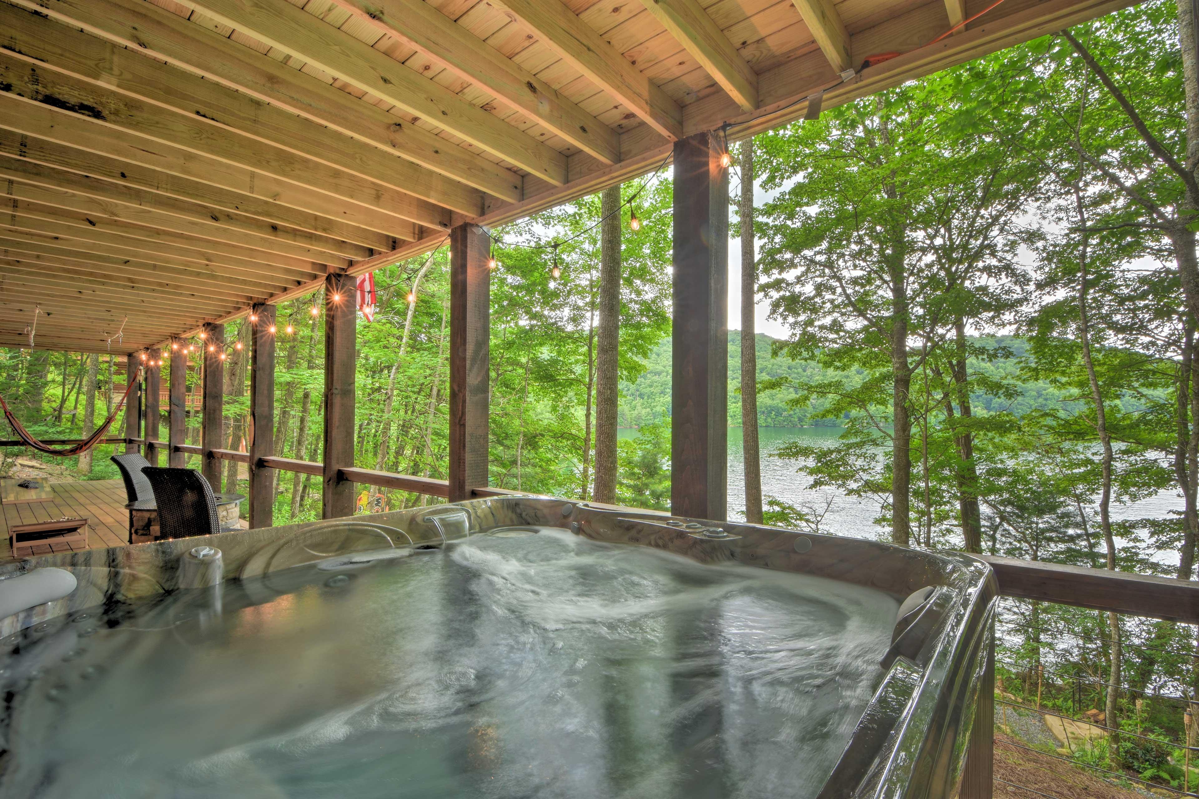 Take a soak in the private hot tub.