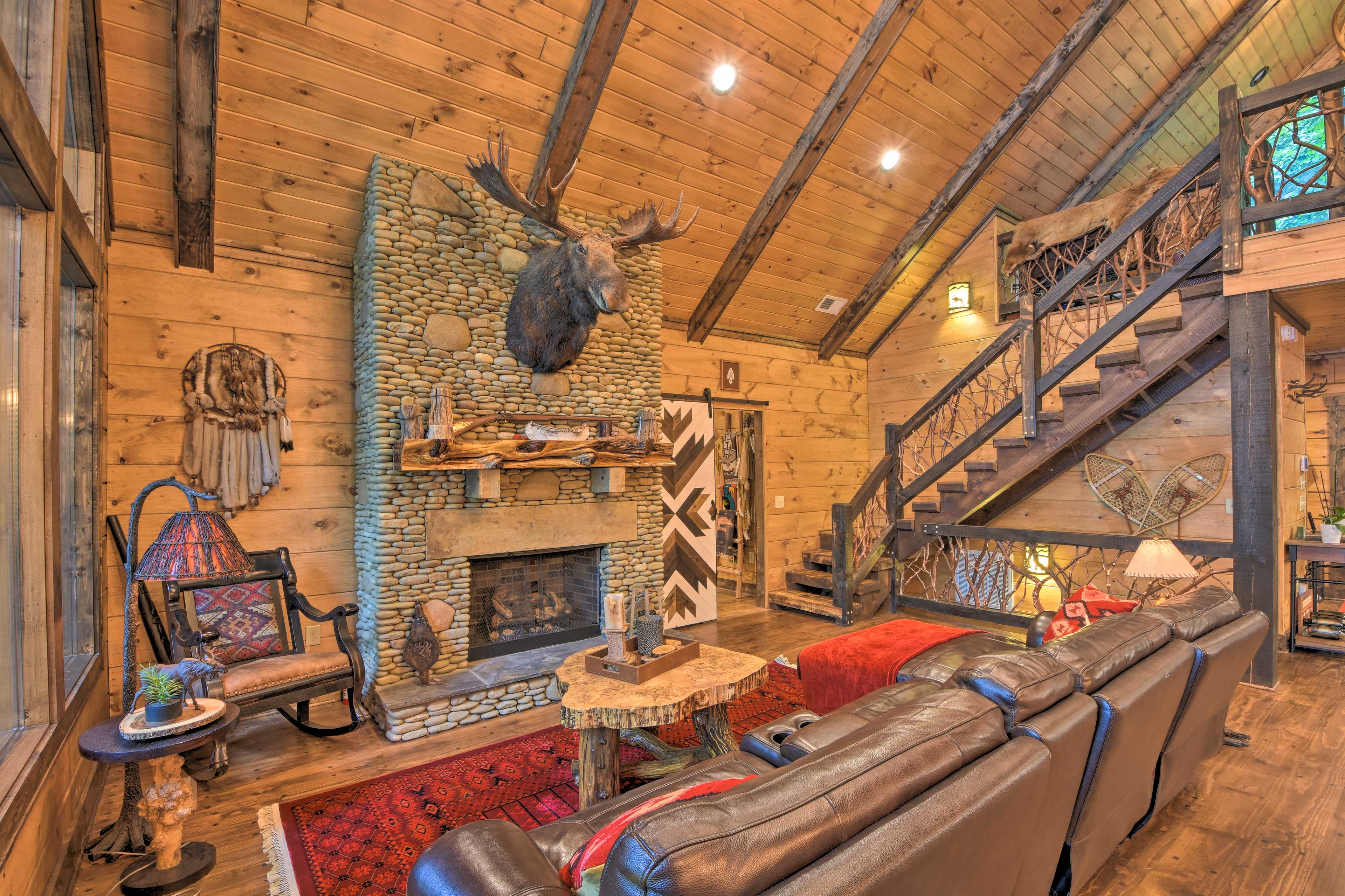 Warm your toes by the stone fireplace.