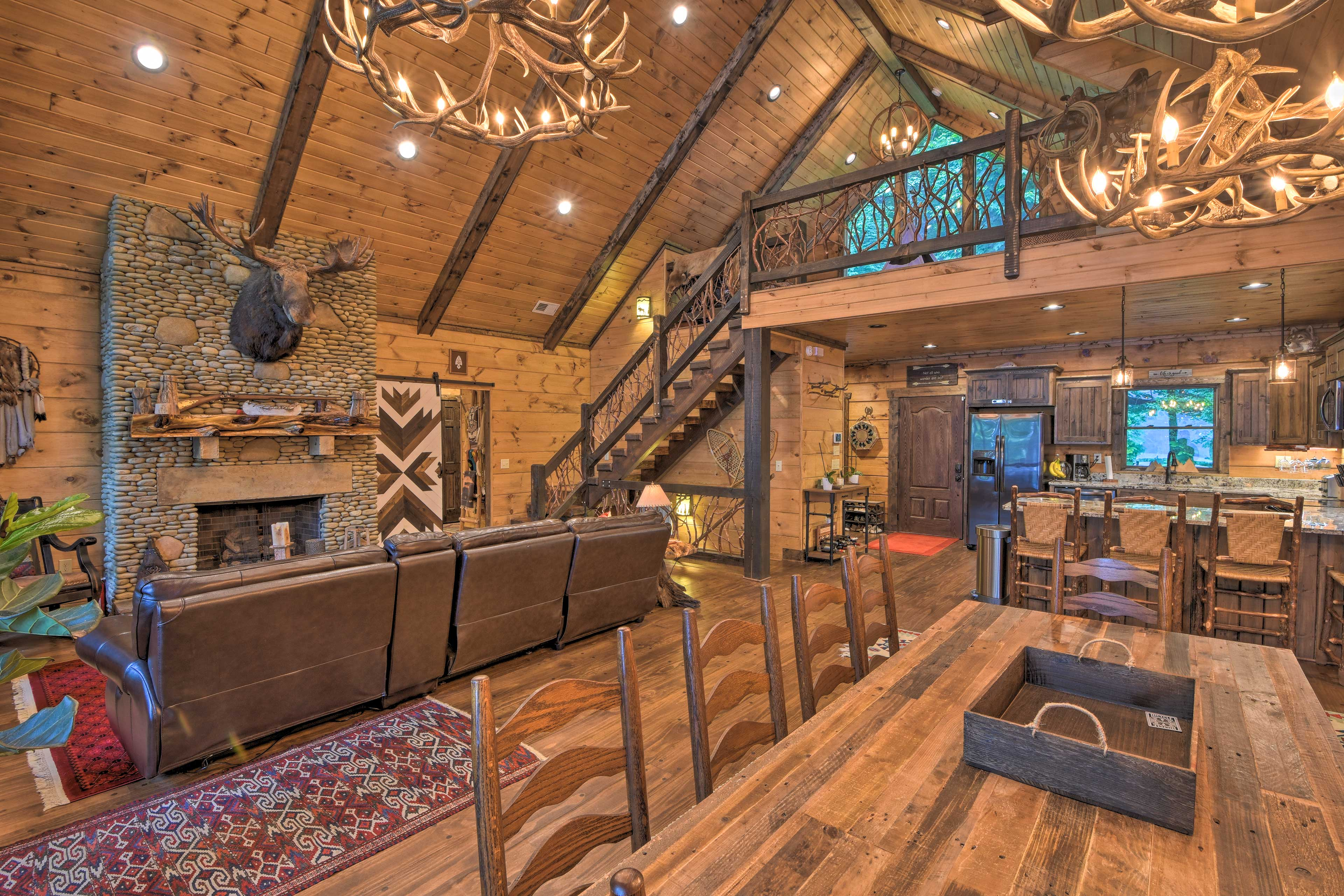 The cabin features an open and cozy living area.
