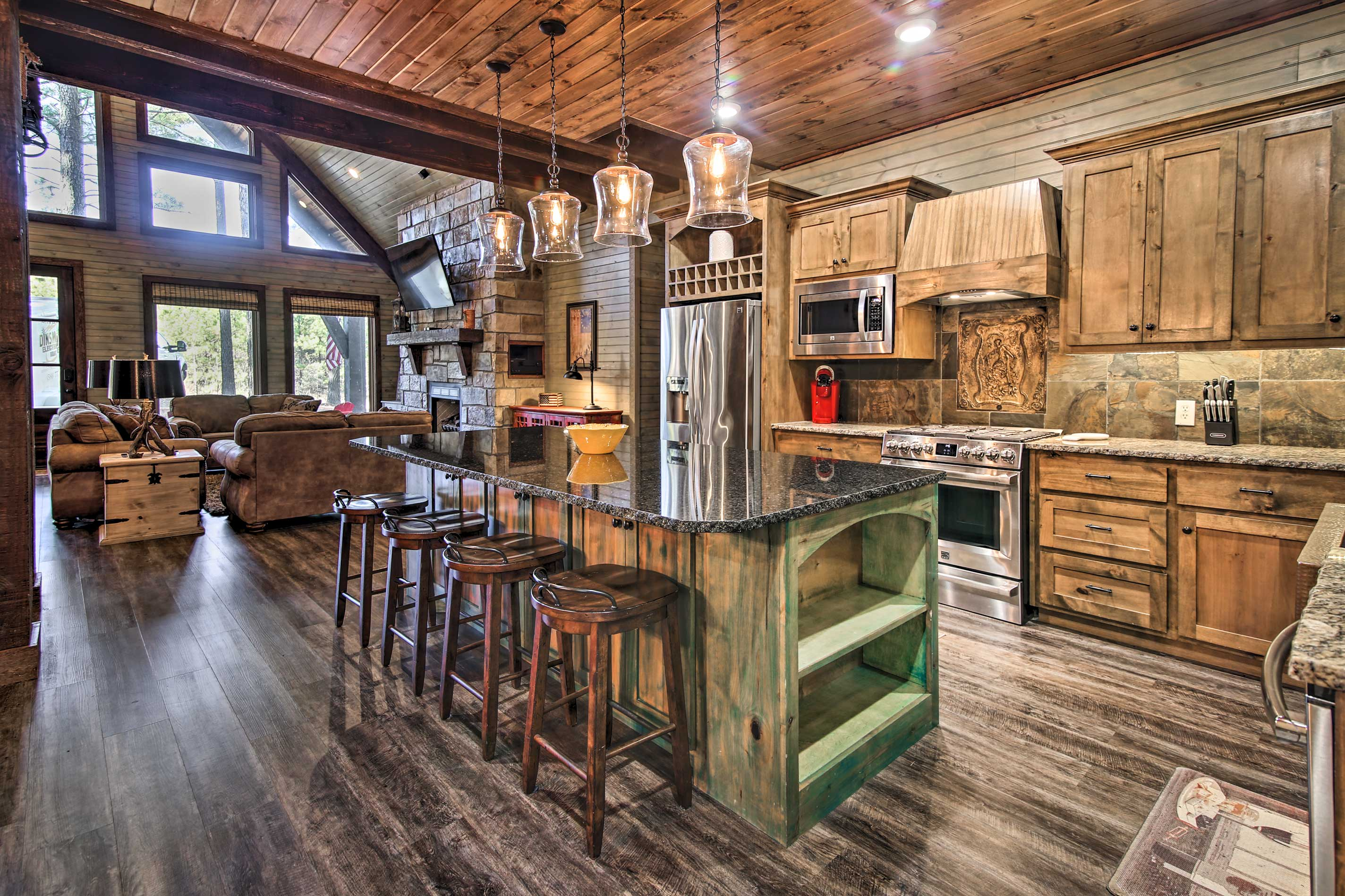 The rustic kitchen is fully equipped.
