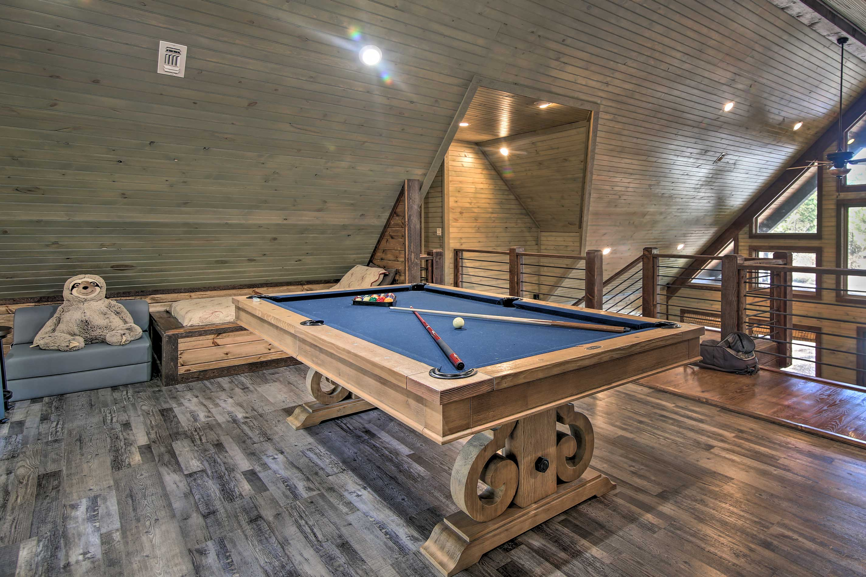 Head up to the loft for a quick billiards game!