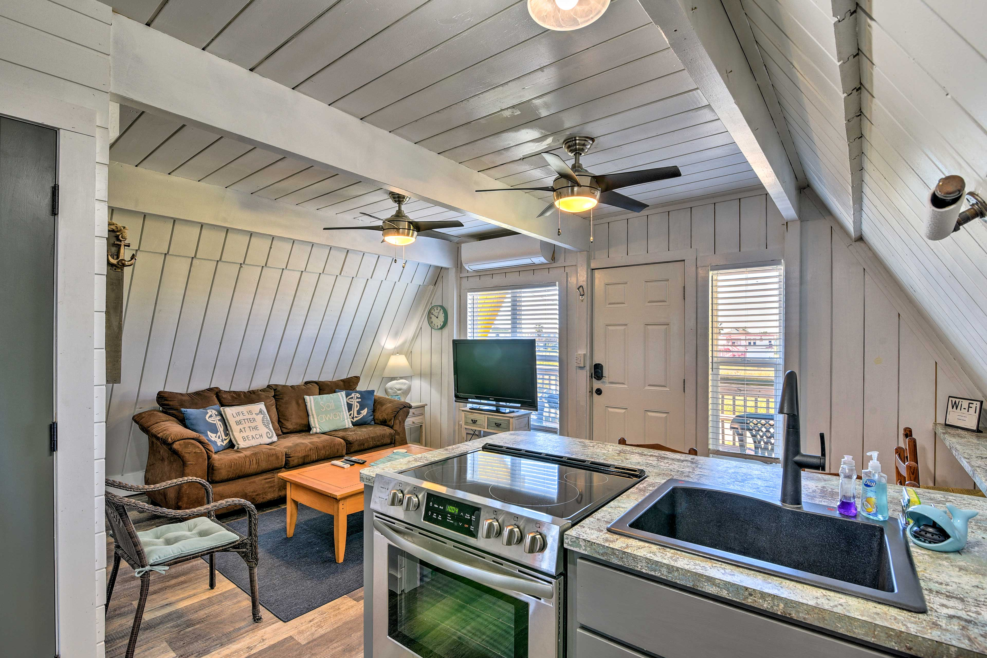 The unique A-frame vacation rental is brimming with coastal charm.