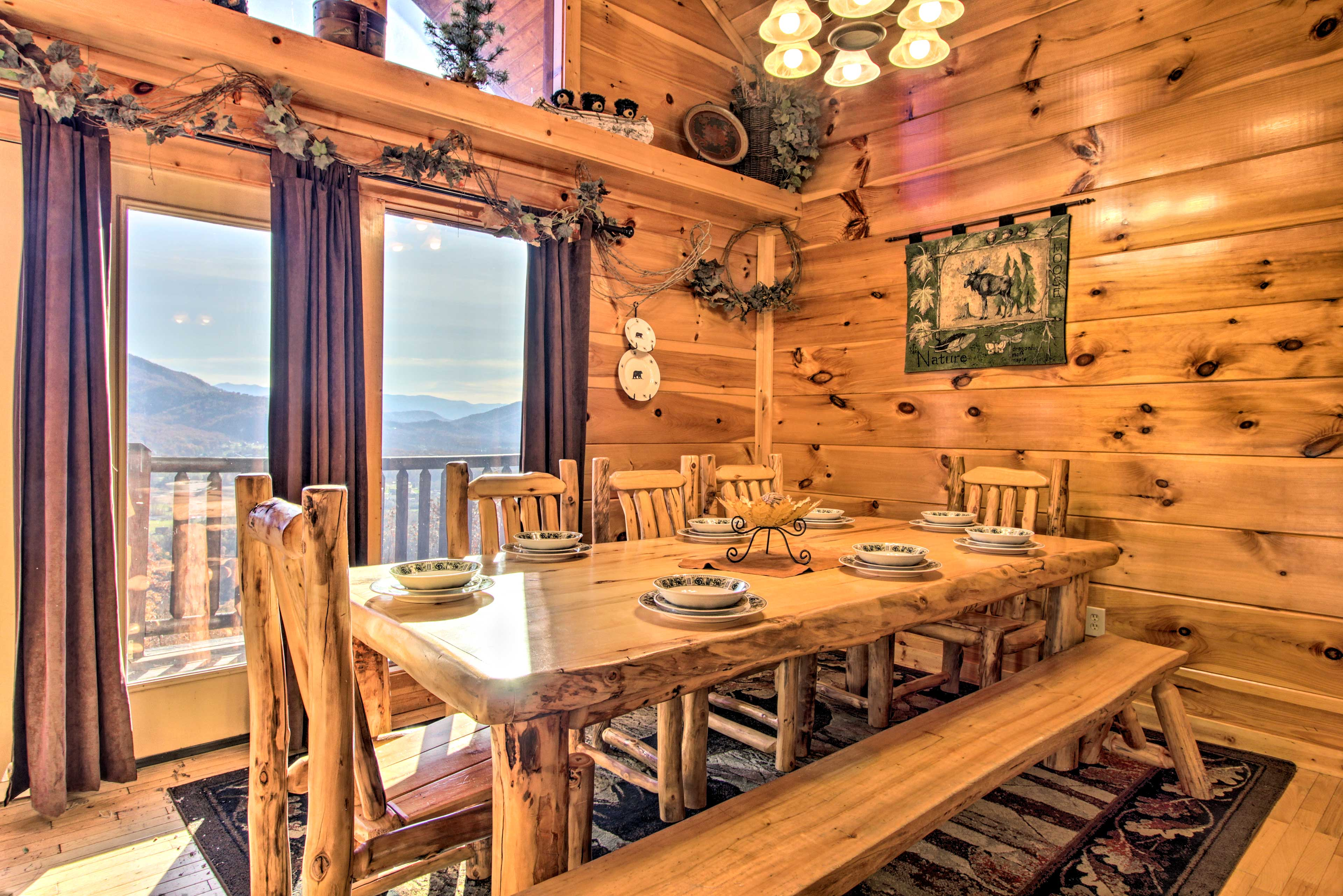Share good food and company at one of the 2 handcrafted Aspen log dining tables.