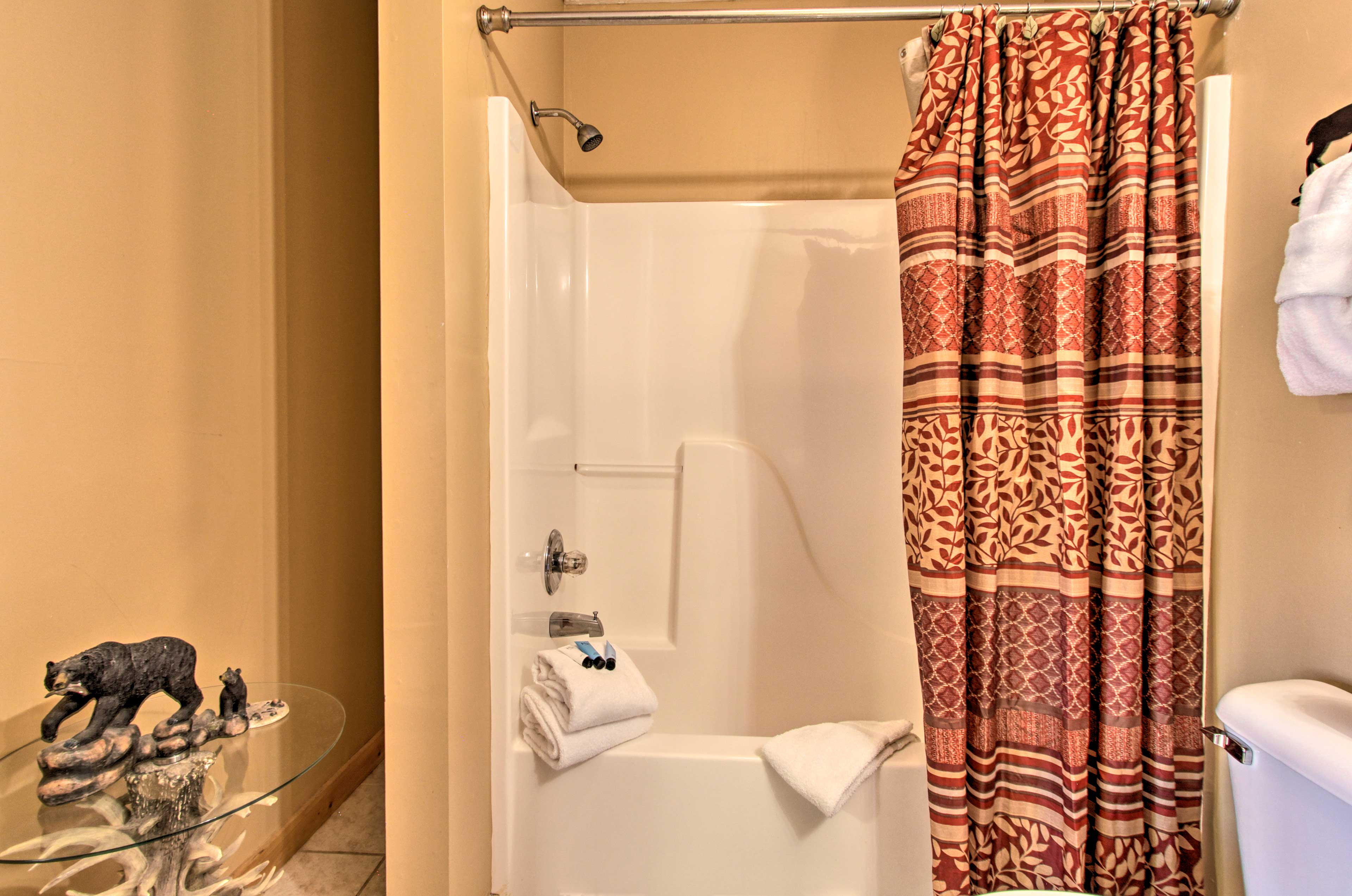 Stick to your morning routine in the other 2 bathrooms, with a shower/tub combo.
