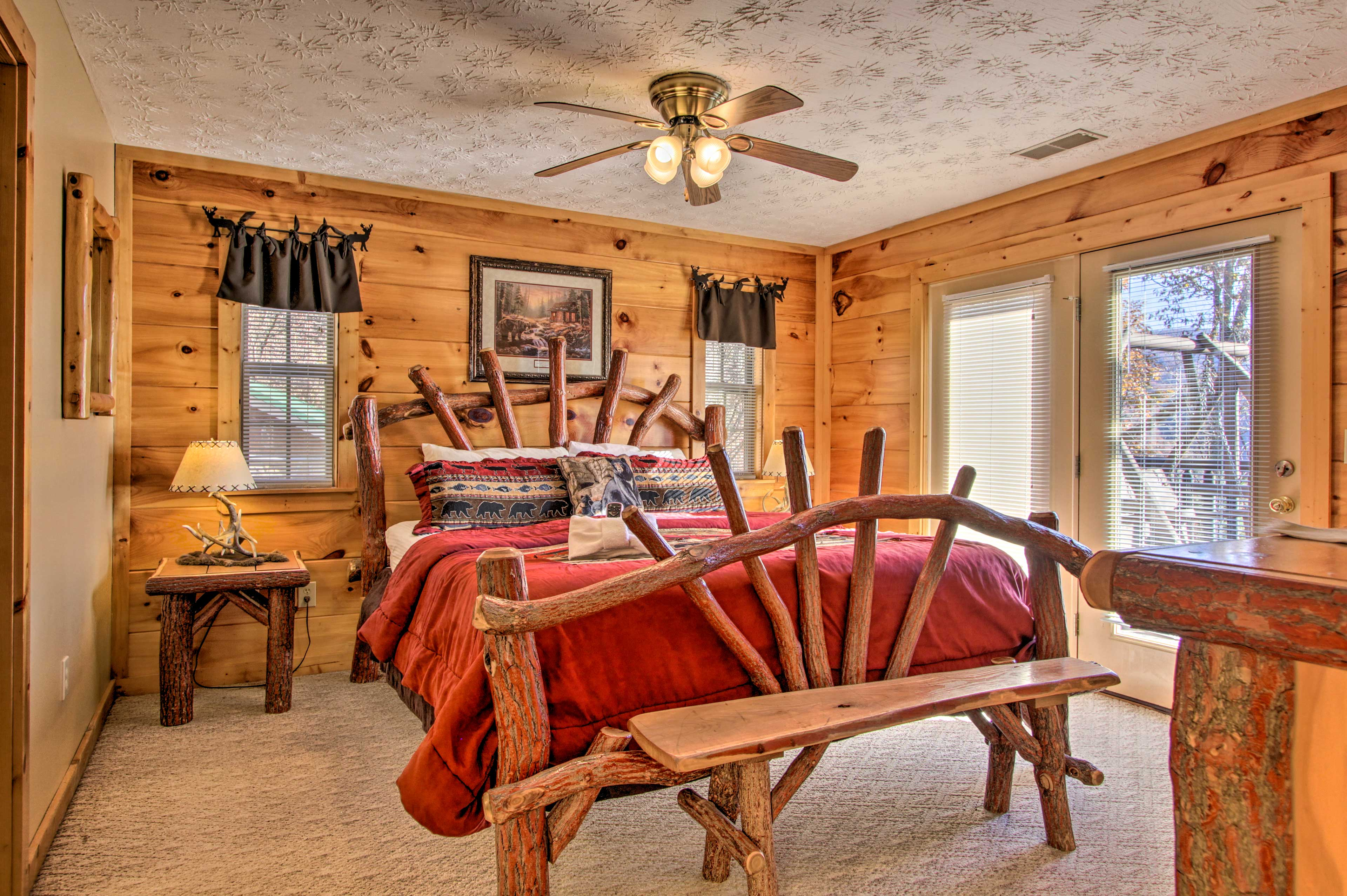 All the bedrooms feature gorgeous wood furnishings and a flat-screen cable TV.