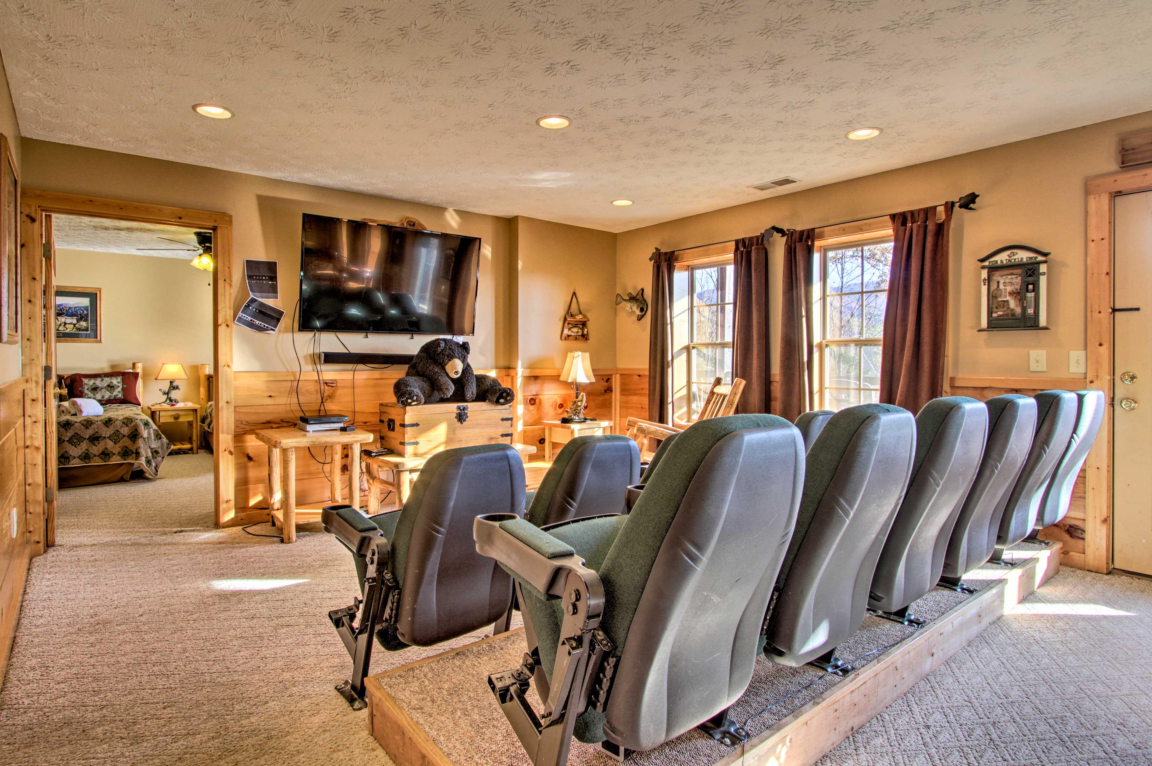 Host a movie night in the downstairs theatre room equipped with a Bose system!