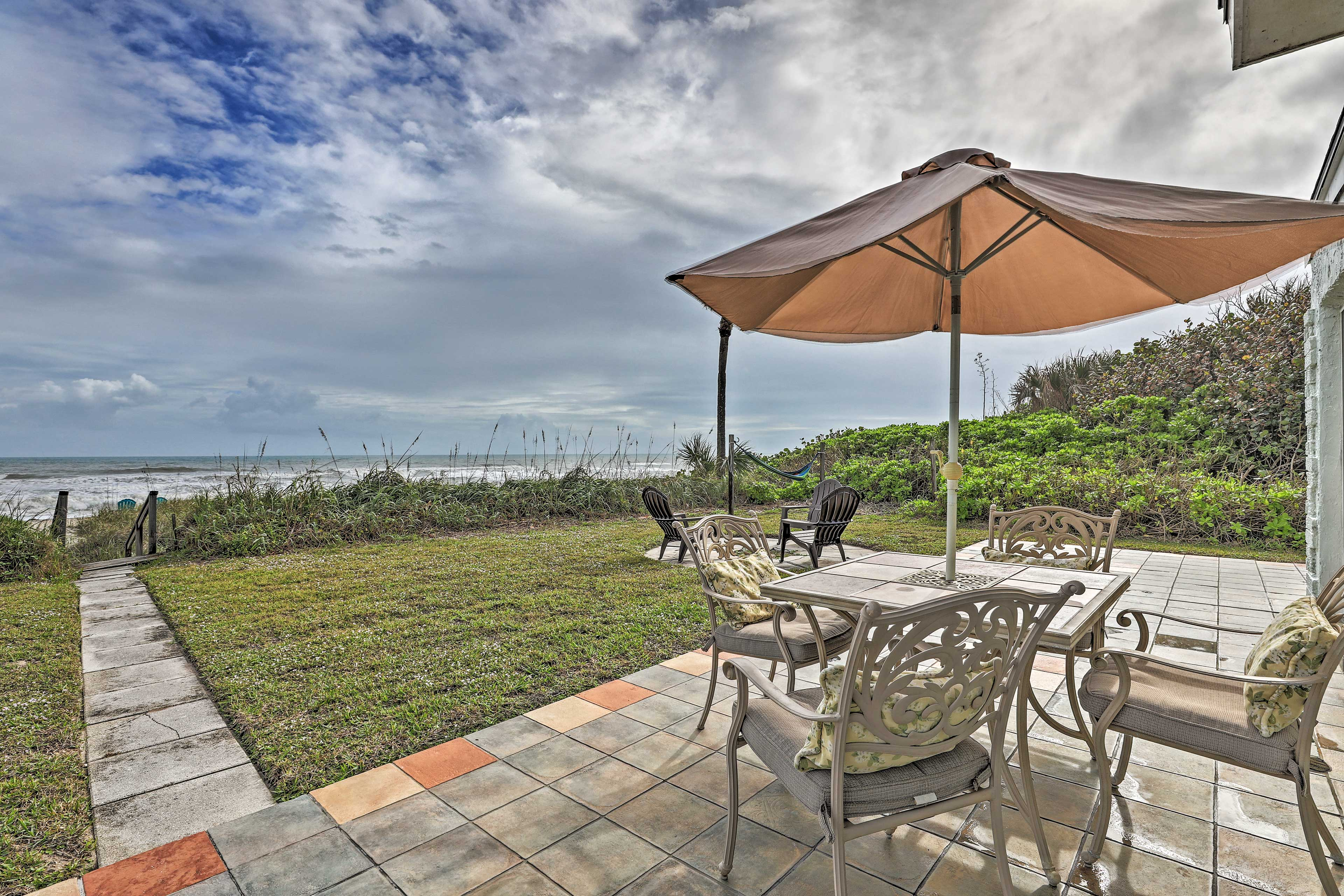 Sit out on the patio and take in ocean views.