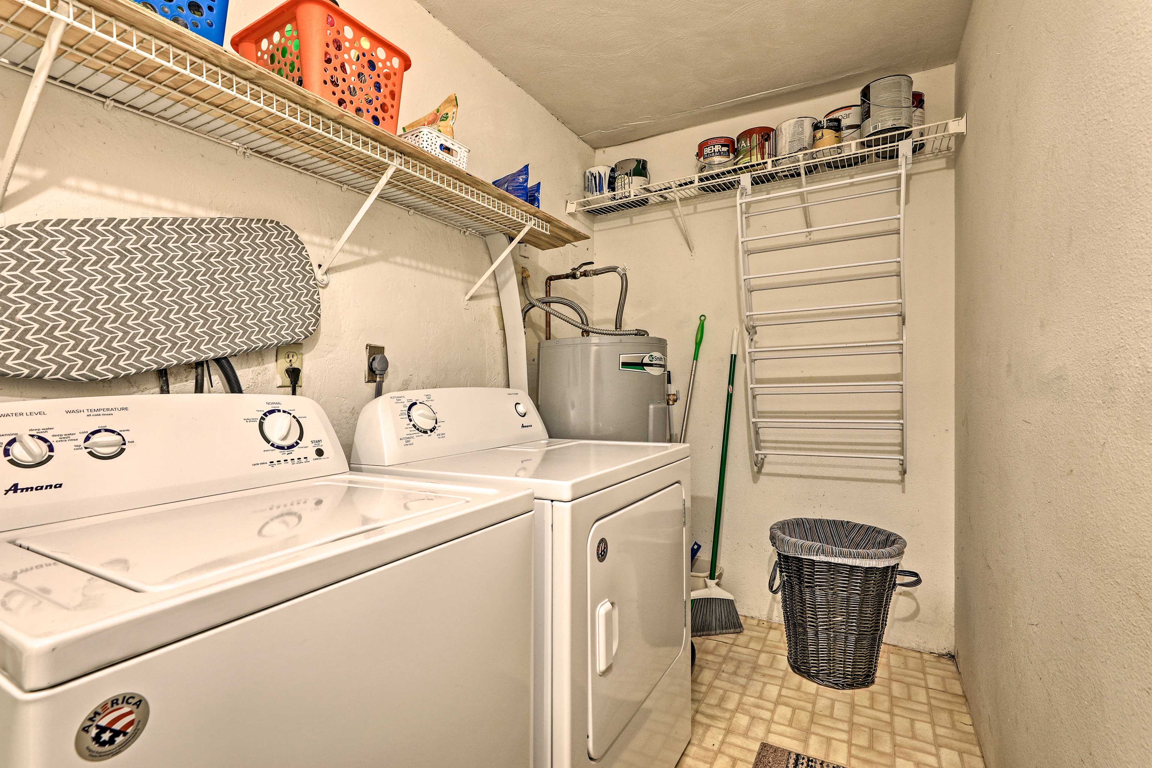 Throw in a load of laundry to keep towels fresh and dry.