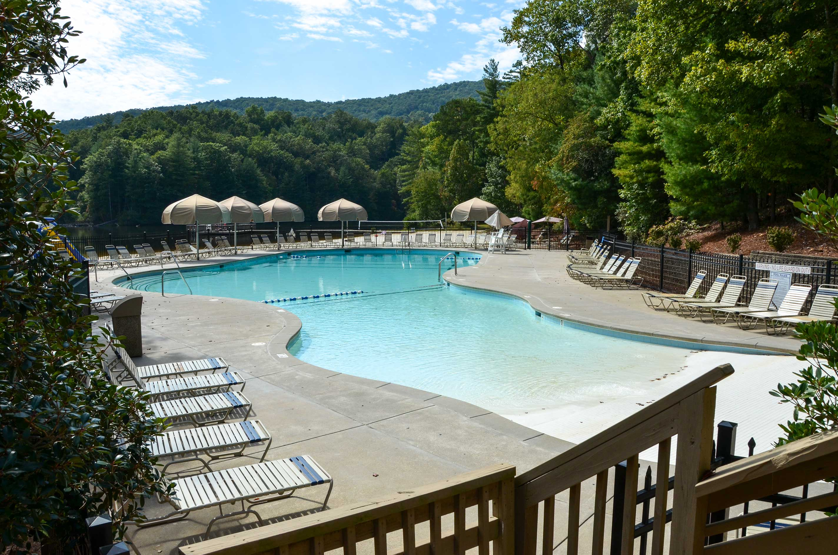 In the summer, perfect your tan next to the large outdoor pool.