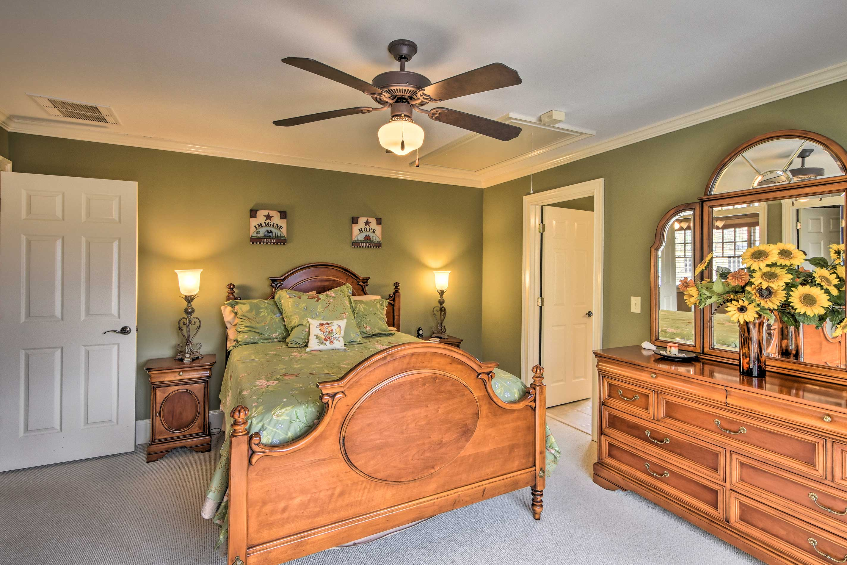 Two of the bedrooms feature queen beds.