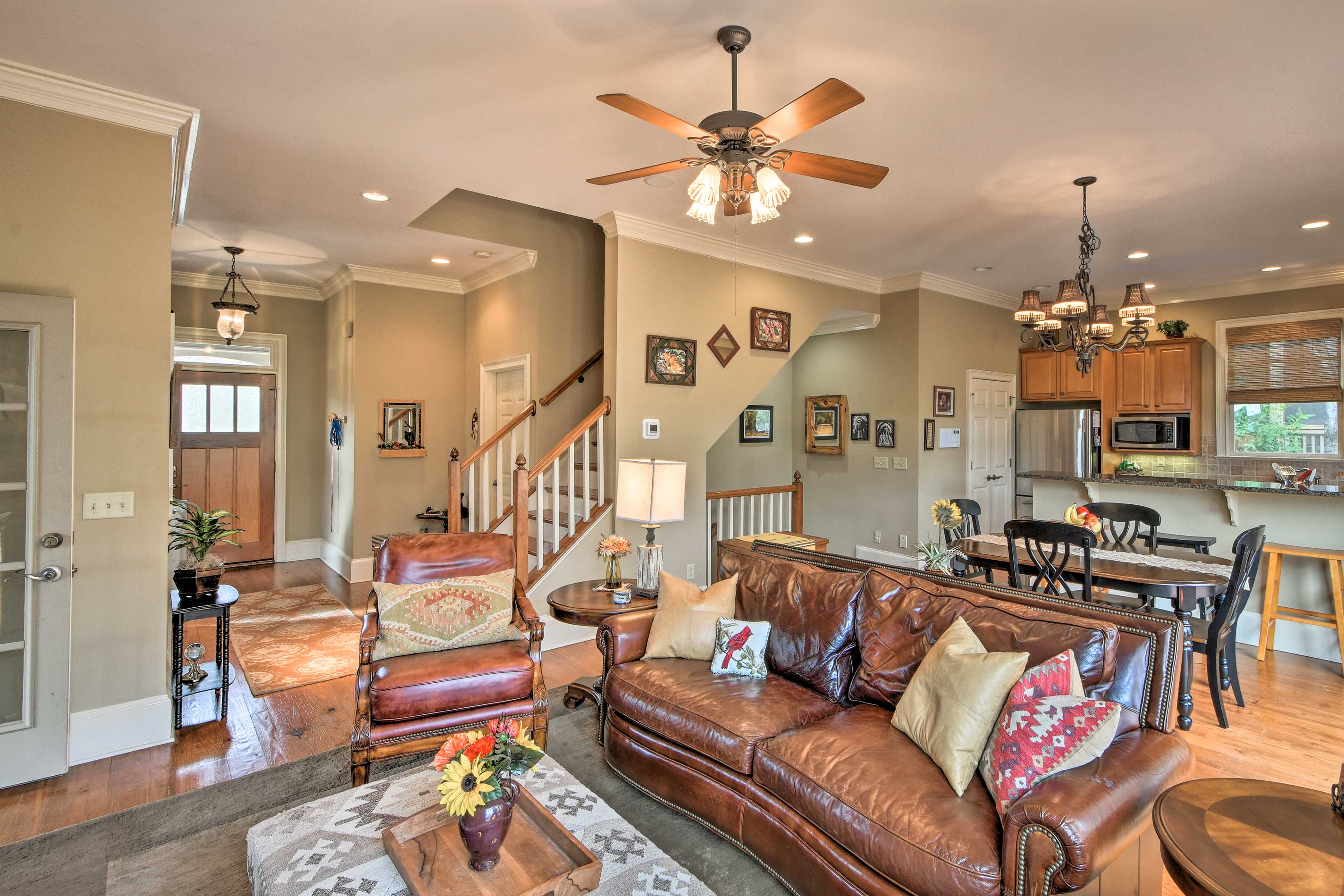 Easily converse with your group in the open-concept layout.