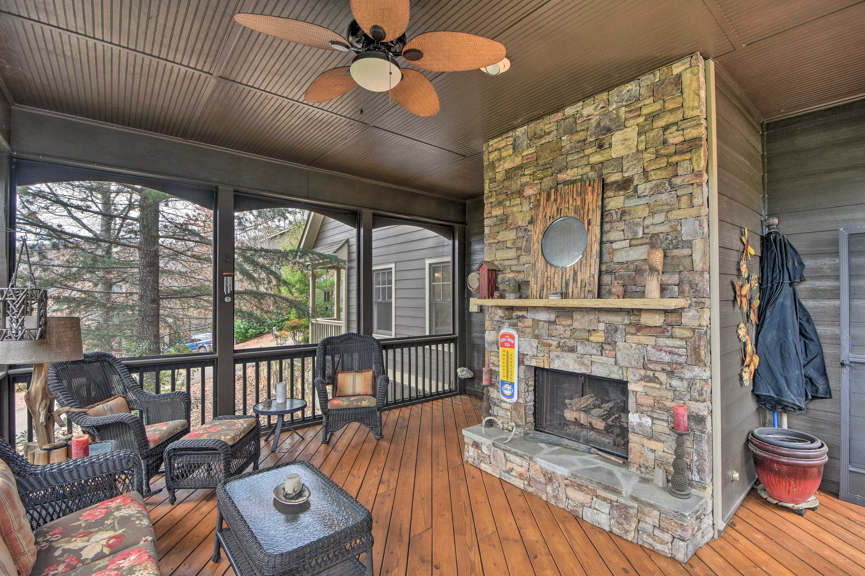 This vacation rental features both beautiful indoor and outdoor spaces.