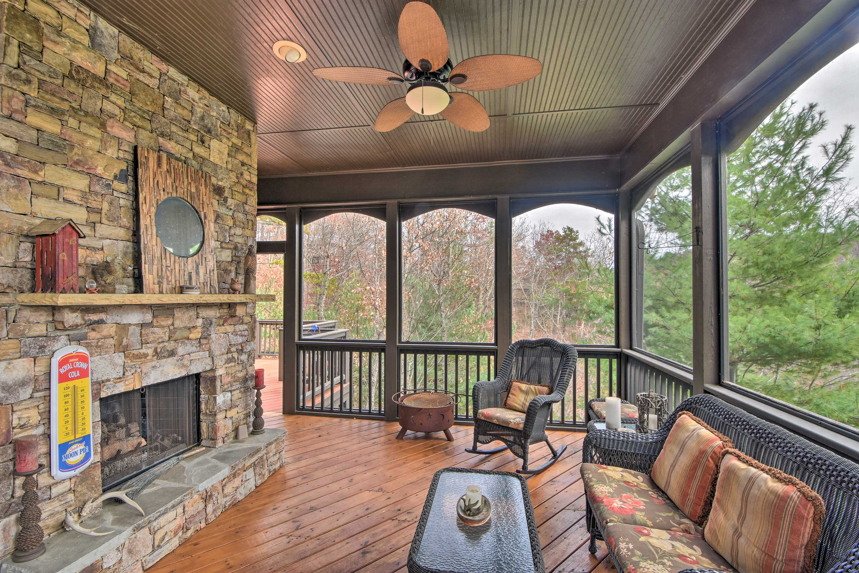In the evenings, gather in the screened porch for a moment of solitude.