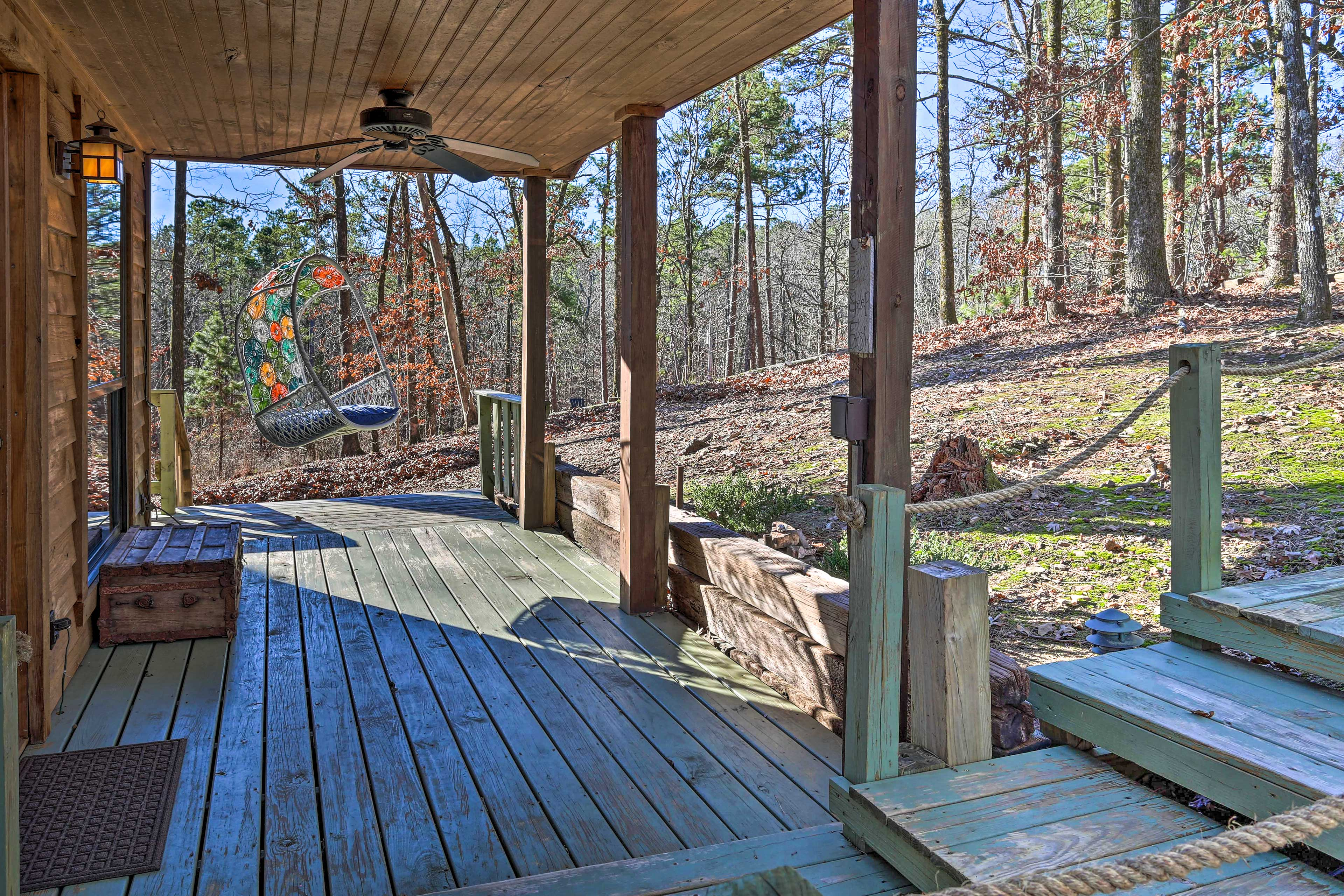Wooded views surround this cozy property.